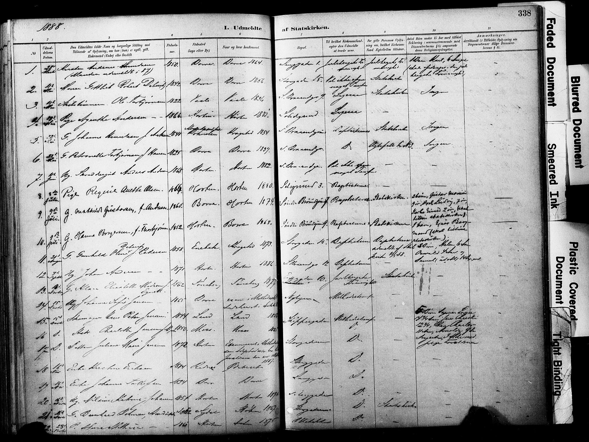 SAKO, Horten kirkebøker, F/Fa/L0004: Parish register (official) no. 4, 1888-1895, p. 338
