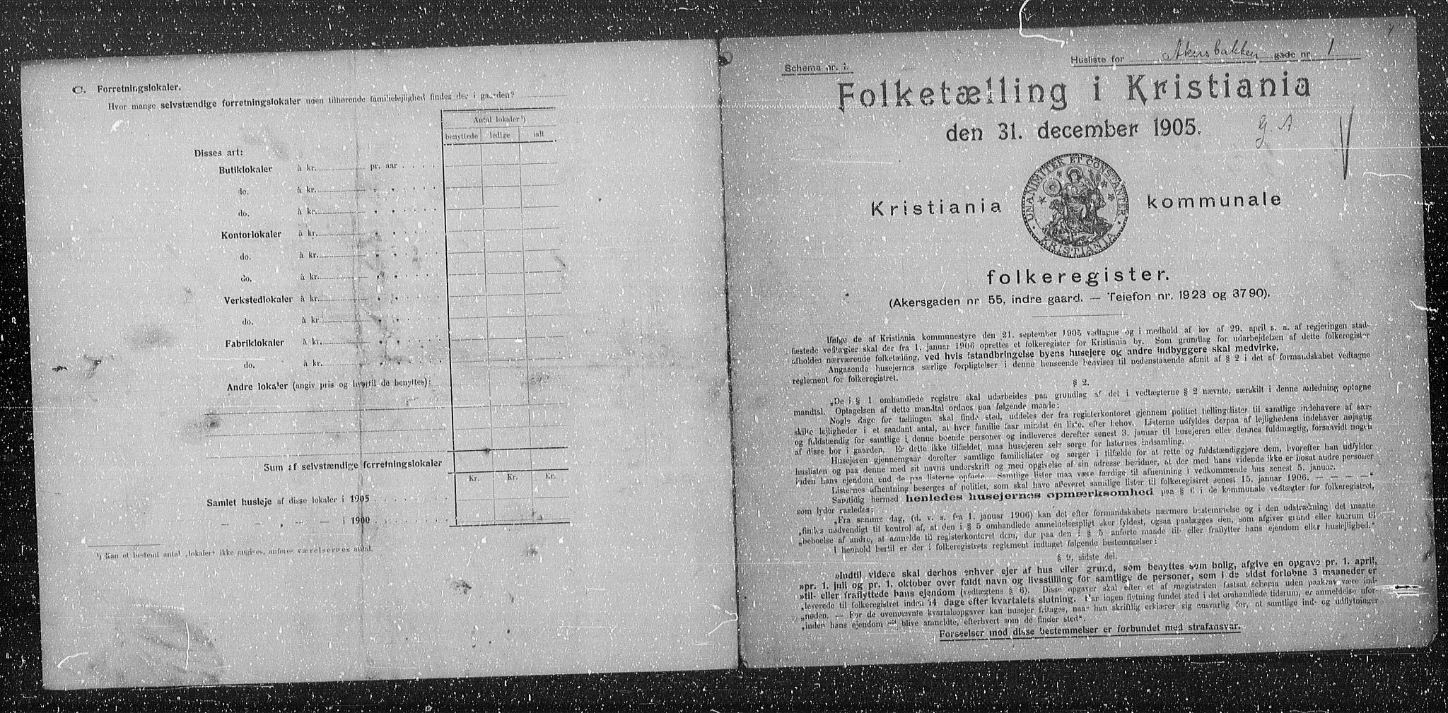 OBA, Municipal Census 1905 for Kristiania, 1905, p. 14