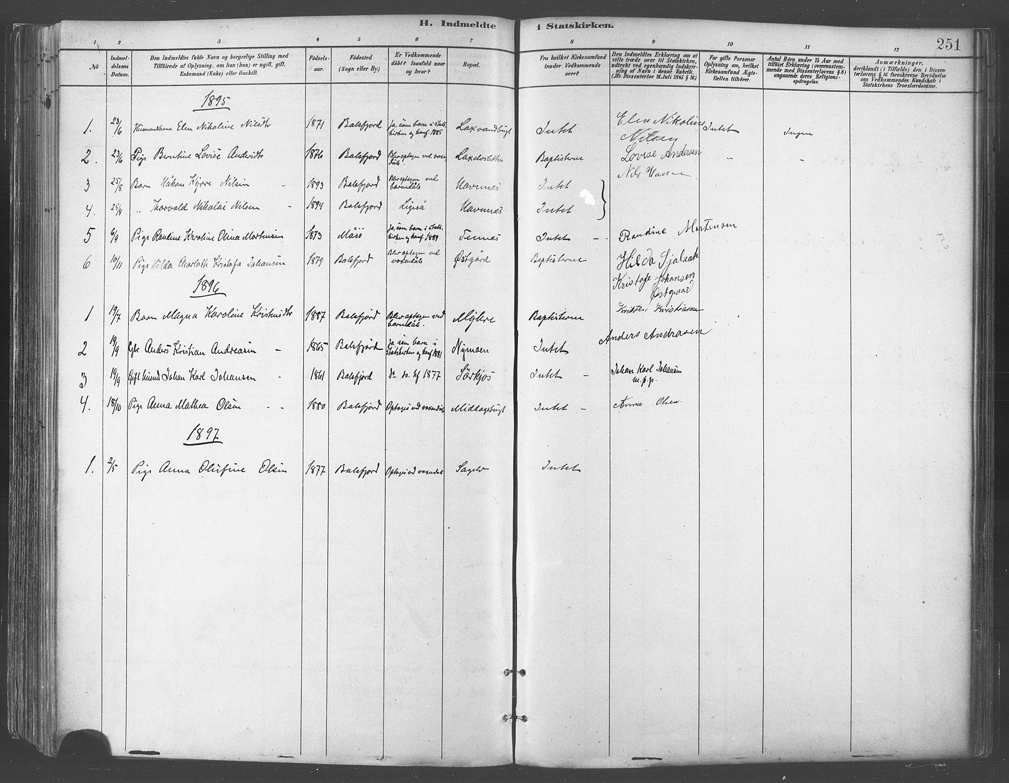SATØ, Balsfjord sokneprestembete, Parish register (official) no. 5, 1884-1897, p. 251