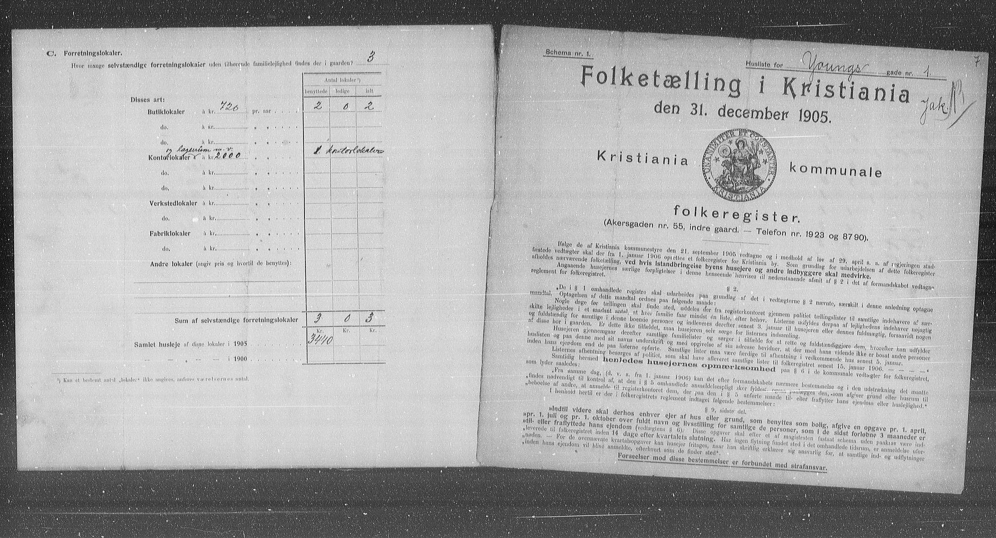OBA, Municipal Census 1905 for Kristiania, 1905, p. 67550