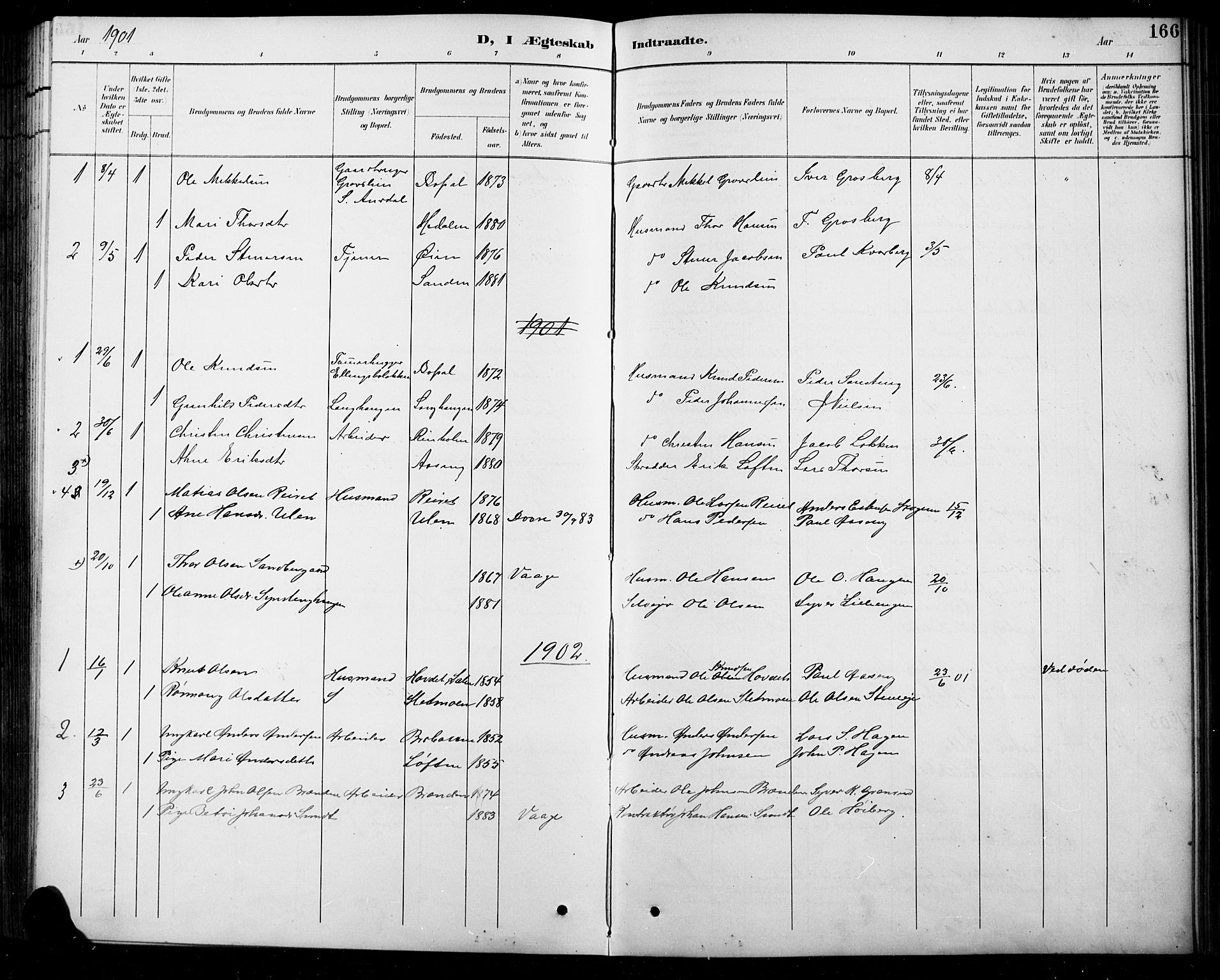 SAH, Sel prestekontor, Parish register (copy) no. 5, 1894-1923, p. 166