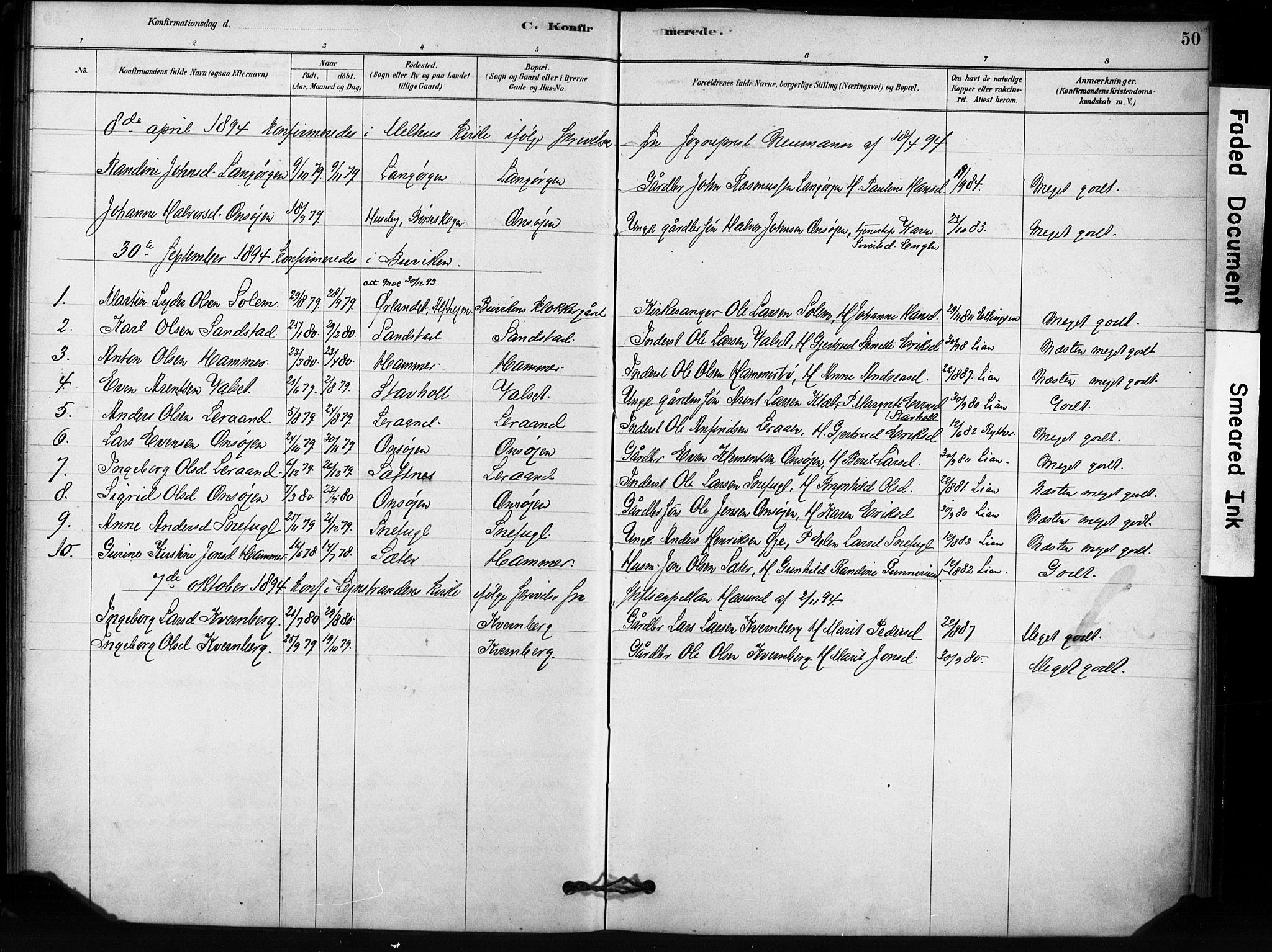 SAT, Ministerialprotokoller, klokkerbøker og fødselsregistre - Sør-Trøndelag, 666/L0786: Parish register (official) no. 666A04, 1878-1895, p. 50