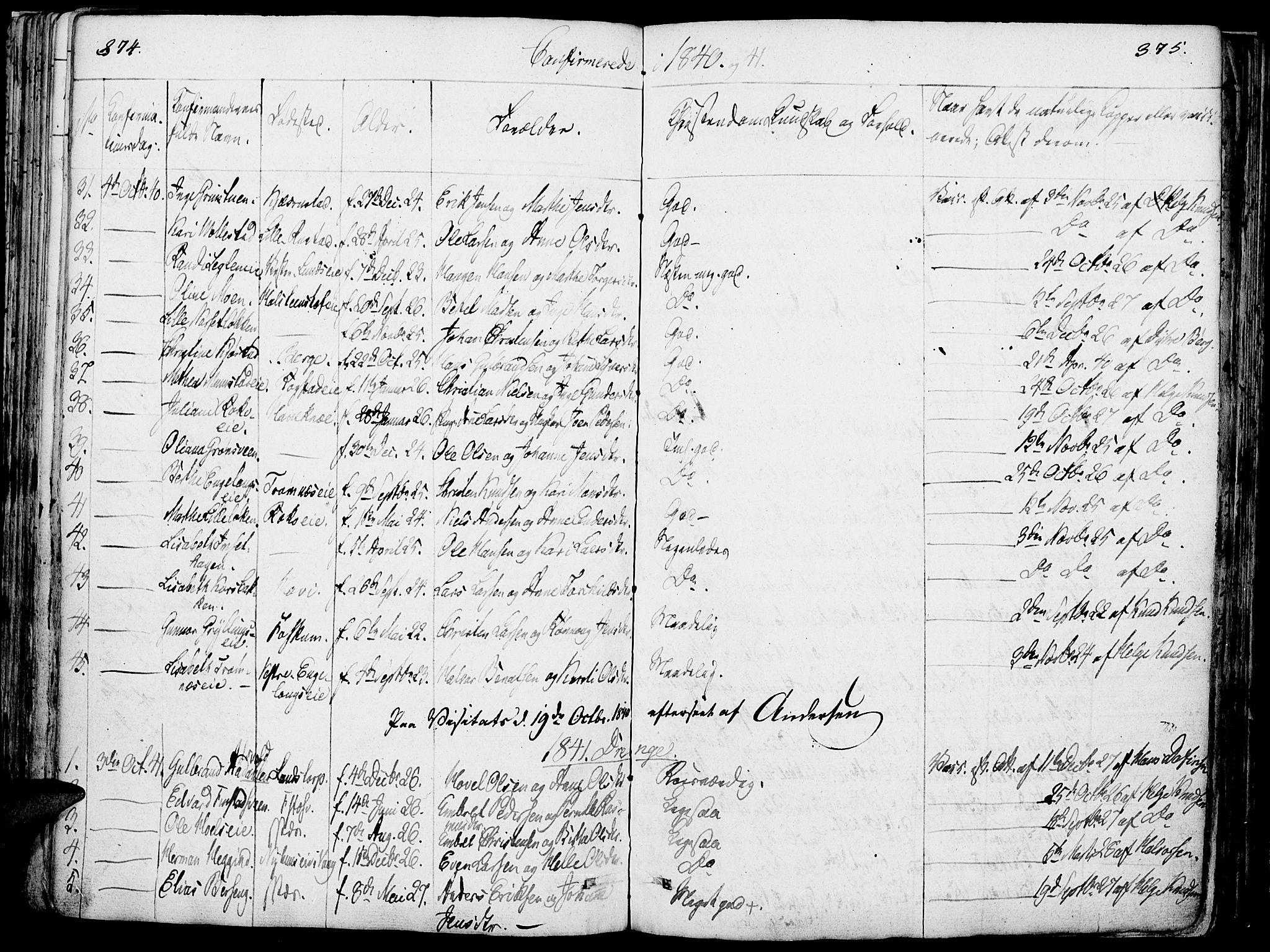SAH, Løten prestekontor, K/Ka/L0006: Parish register (official) no. 6, 1832-1849, p. 374-375