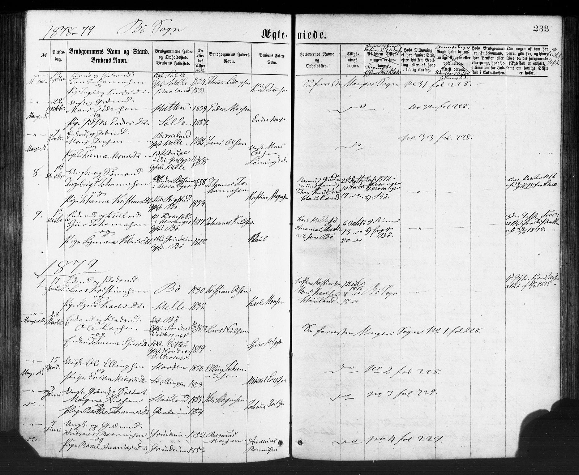SAB, Manger sokneprestembete, H/Haa: Parish register (official) no. A 8, 1871-1880, p. 233