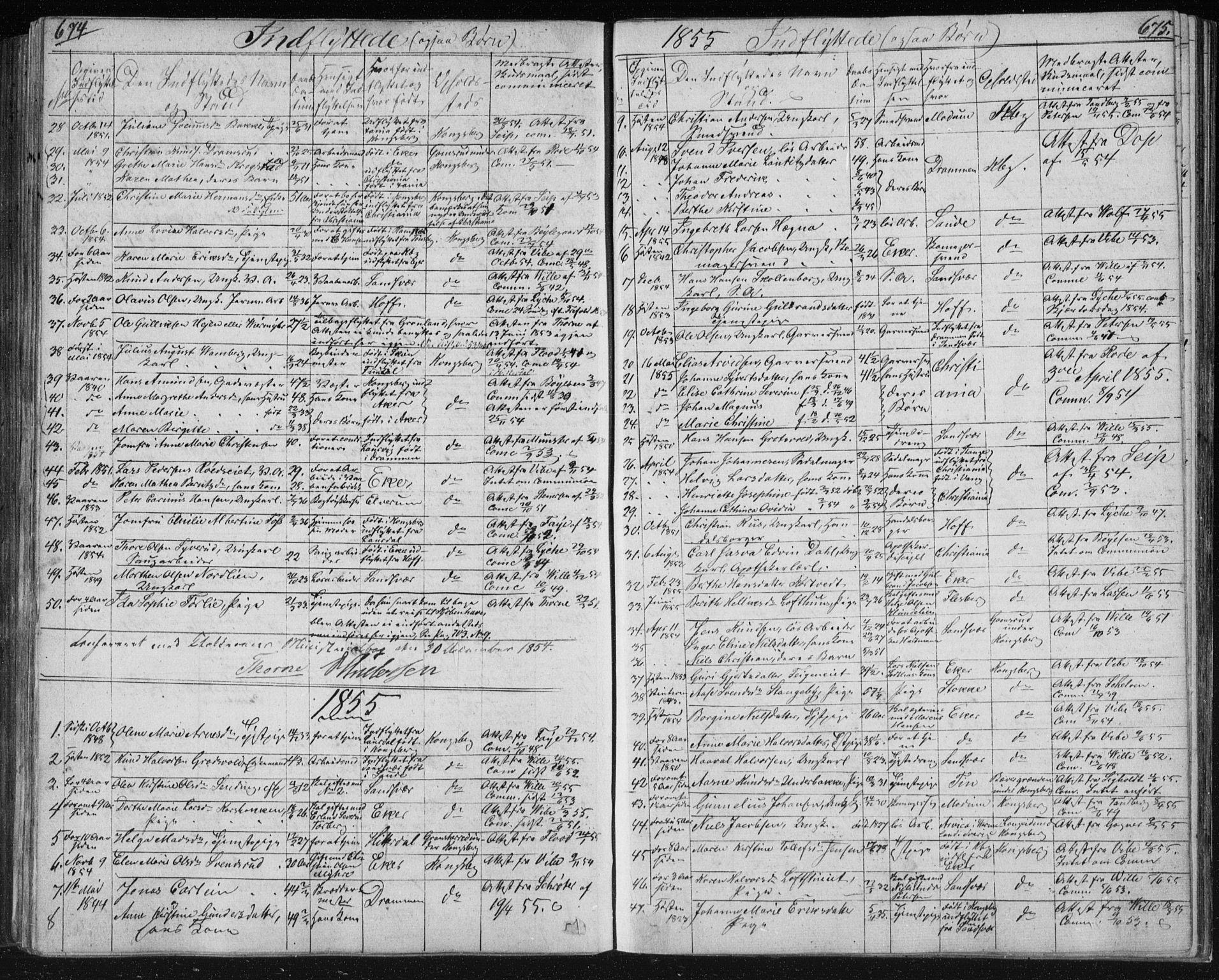 SAKO, Kongsberg kirkebøker, F/Fa/L0009: Parish register (official) no. I 9, 1839-1858, p. 674-675