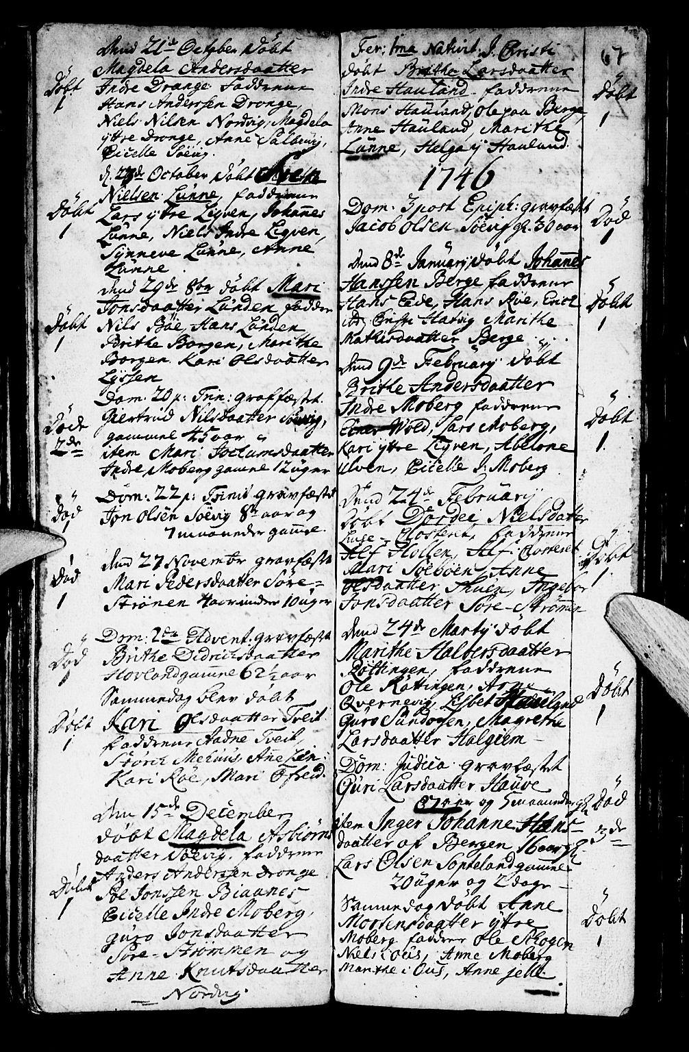 SAB, Os sokneprestembete*, Parish register (official) no. A 2, 1723-1758, p. 67