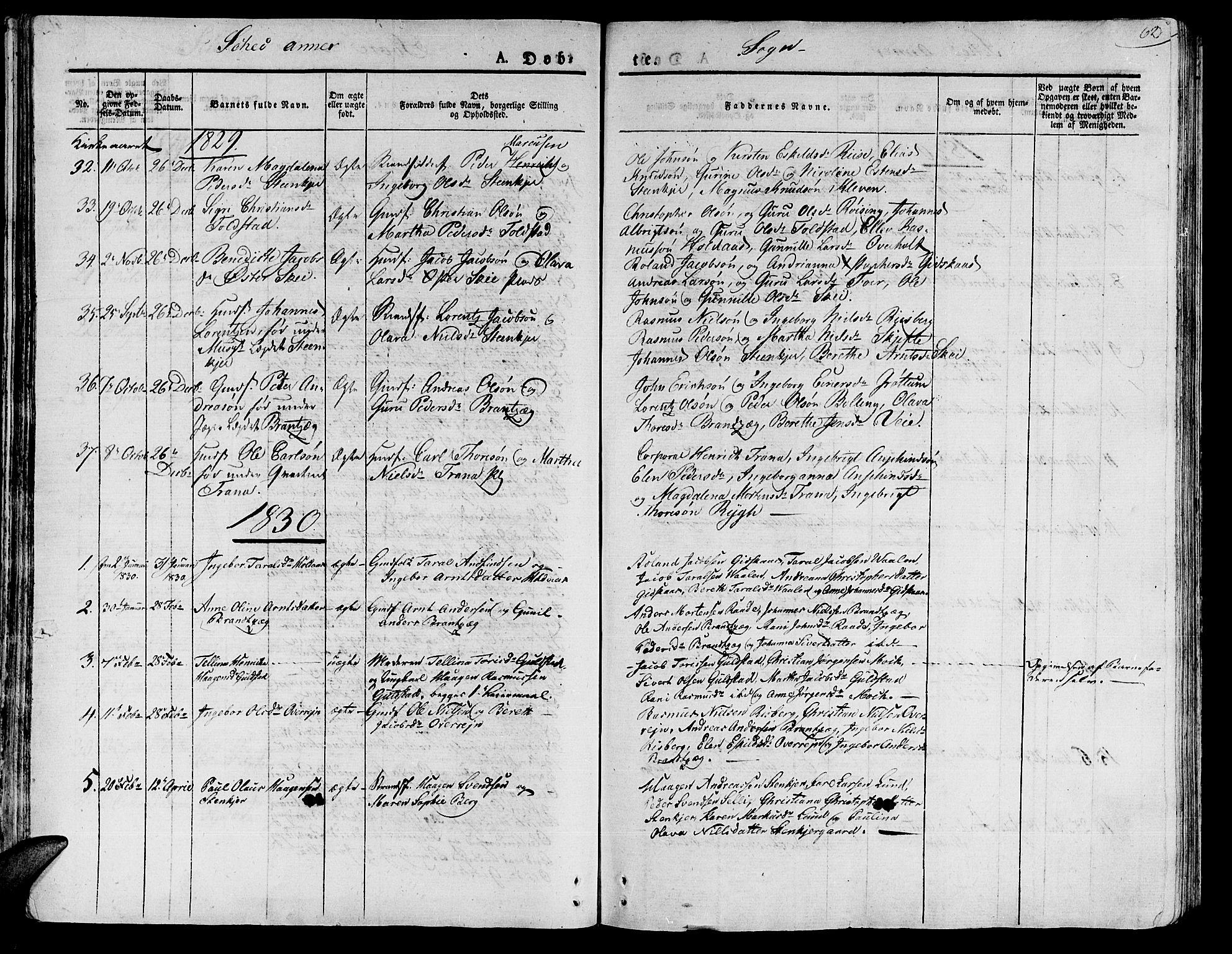 SAT, Ministerialprotokoller, klokkerbøker og fødselsregistre - Nord-Trøndelag, 735/L0336: Parish register (official) no. 735A05 /2, 1825-1835, p. 62