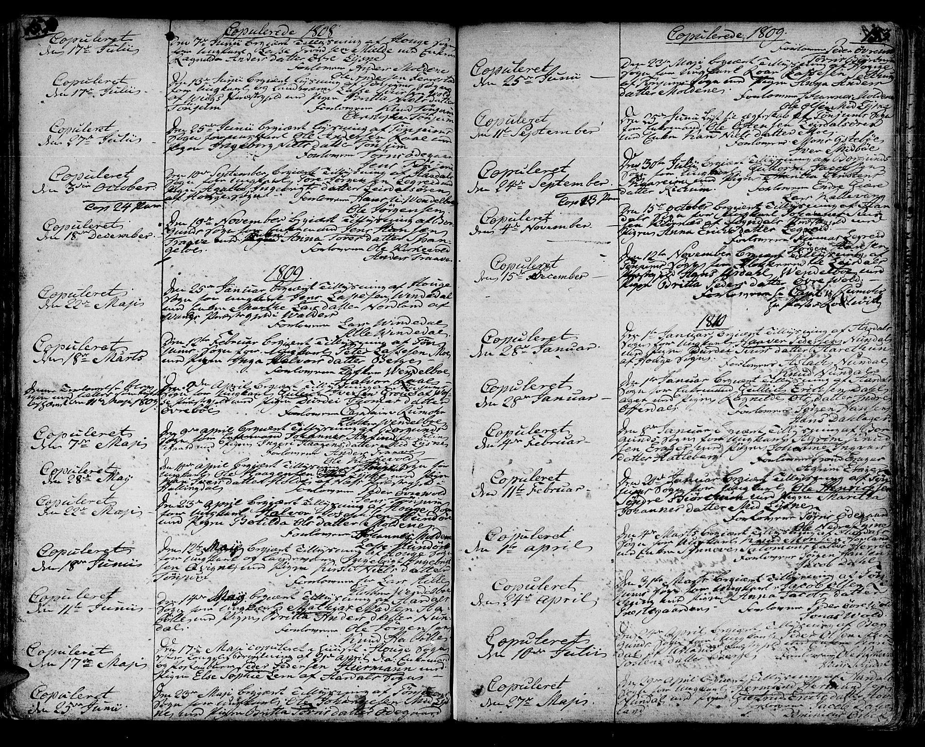 SAB, Lærdal Sokneprestembete, Parish register (official) no. A 4, 1805-1821, p. 152-153