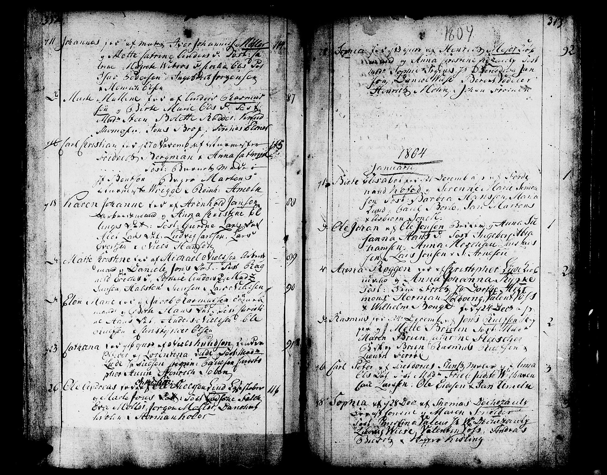 SAB, Domkirken sokneprestembete, H/Haa/L0004: Parish register (official) no. A 4, 1763-1820, p. 312-313