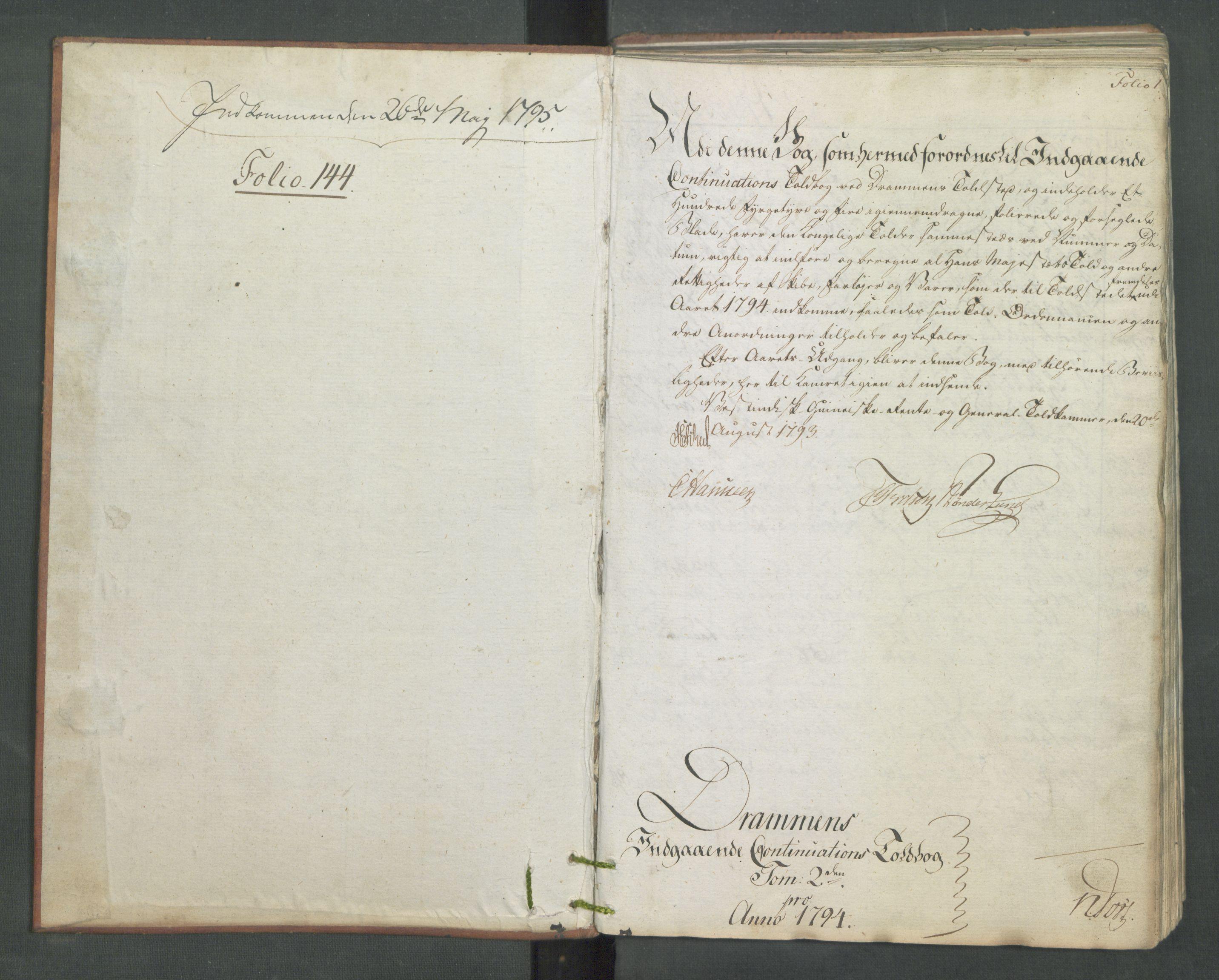 RA, Generaltollkammeret, tollregnskaper, R08/L0174: Tollregnskaper Drammen, 1794, p. 1a