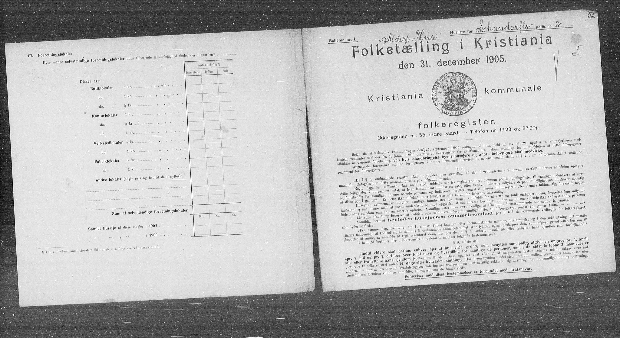 OBA, Municipal Census 1905 for Kristiania, 1905, p. 46527