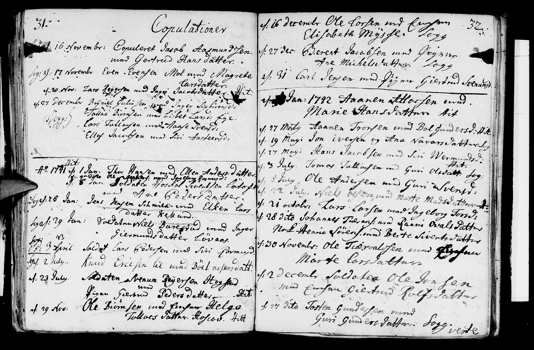 SAST, Sokndal sokneprestkontor, Parish register (official) no. A 2, 1740-1743, p. 31-32