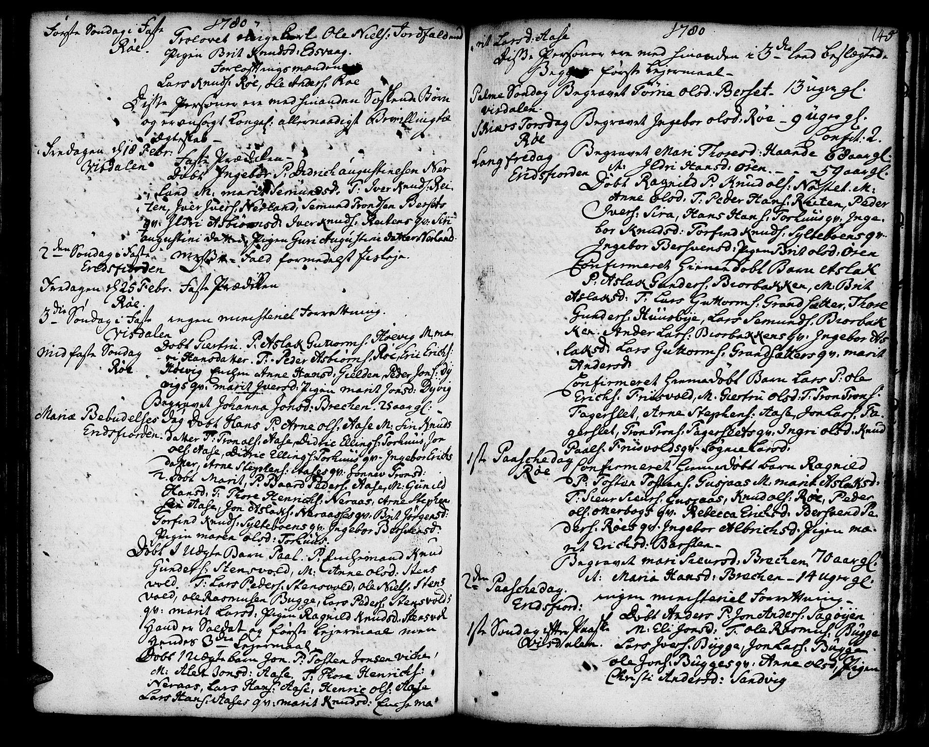 SAT, Ministerialprotokoller, klokkerbøker og fødselsregistre - Møre og Romsdal, 551/L0621: Parish register (official) no. 551A01, 1757-1803, p. 145