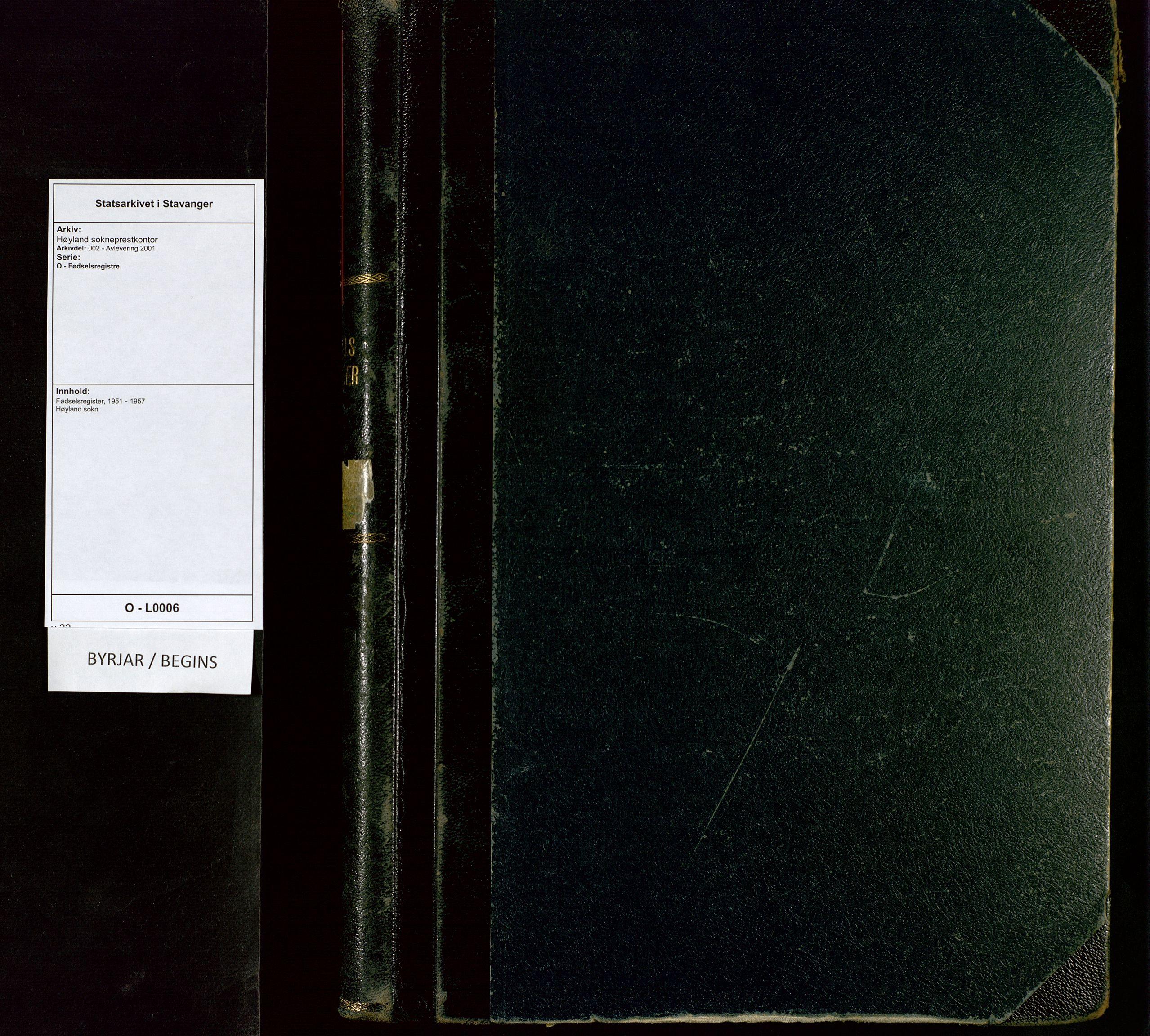 SAST, Høyland sokneprestkontor, O/L0006: Birth register no. 6, 1951-1957