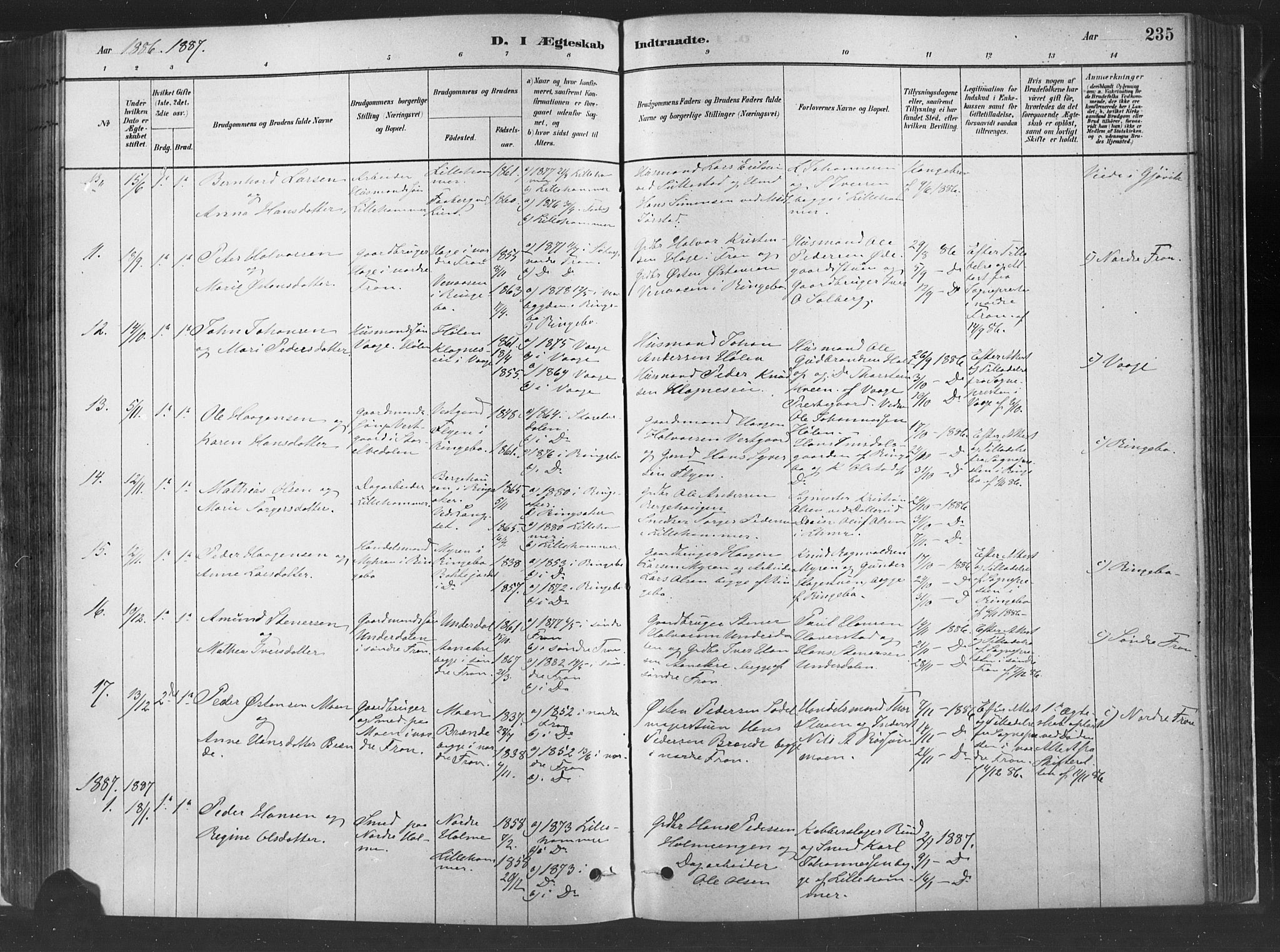 SAH, Fåberg prestekontor, H/Ha/Haa/L0010: Parish register (official) no. 10, 1879-1900, p. 235