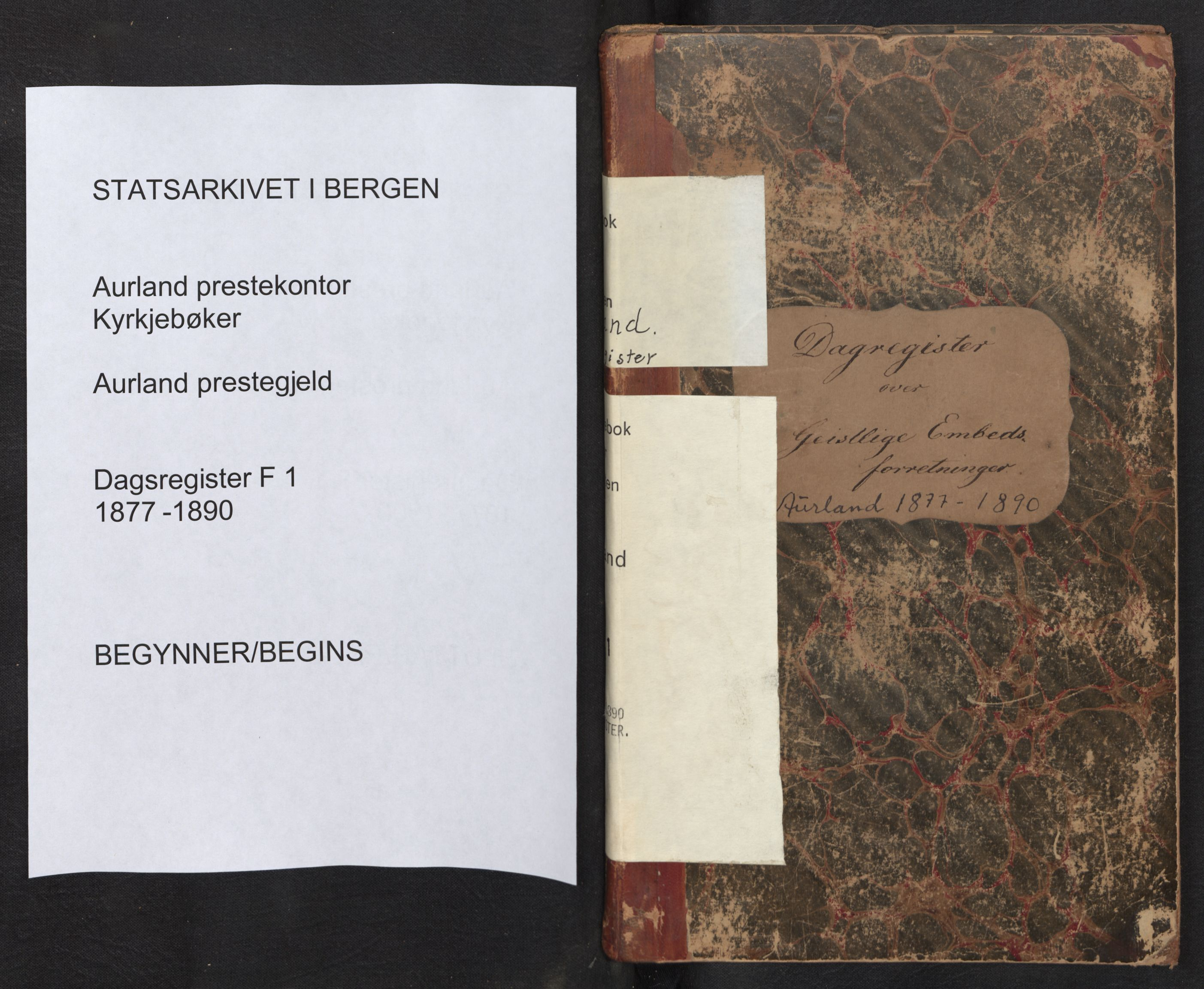 SAB, Aurland Sokneprestembete*, Diary records no. F 1, 1877-1890