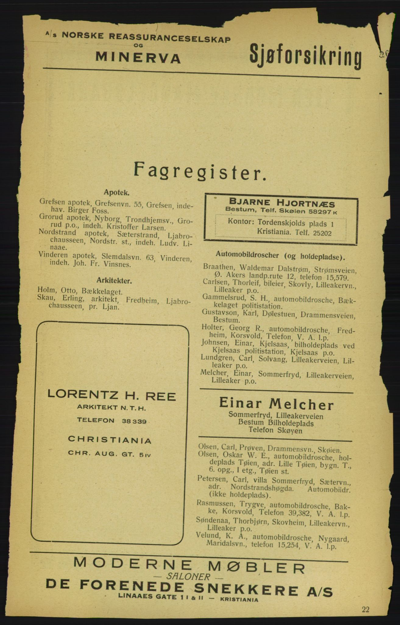 RA, Aker adressebok/adressekalender (publikasjon)*, 1922, p. 325