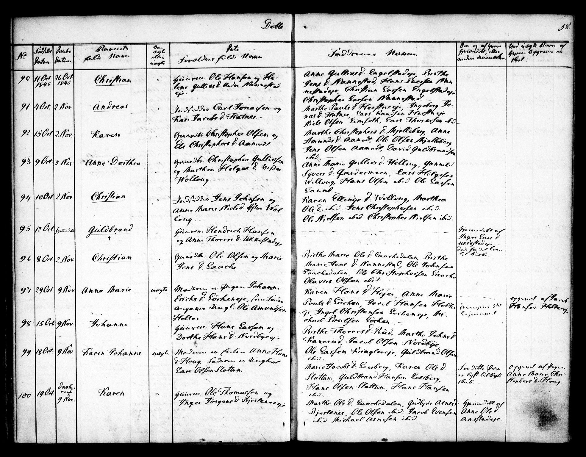 SAO, Nannestad prestekontor Kirkebøker, F/Fa/L0010: Parish register (official) no. I 10, 1840-1850, p. 58