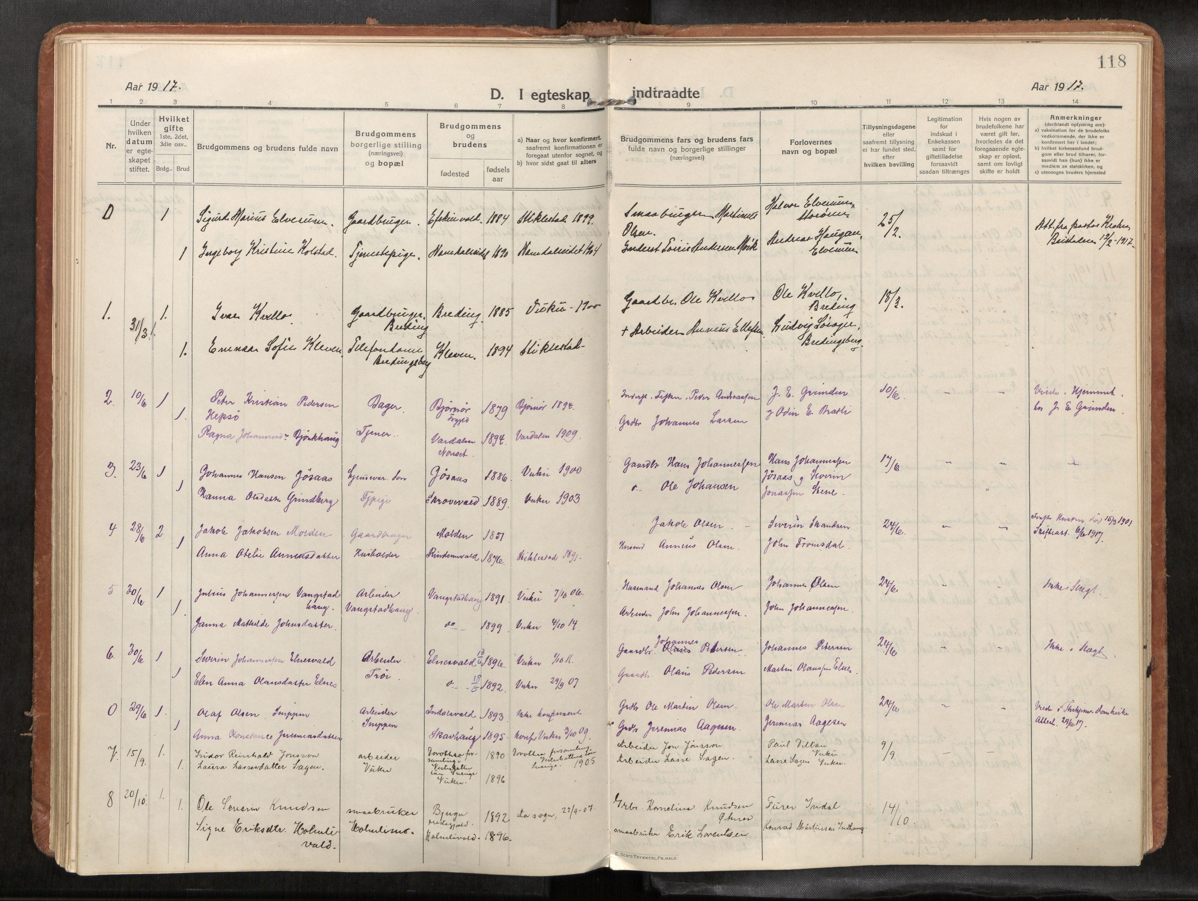 SAT, Verdal sokneprestkontor*, Parish register (official) no. 1, 1916-1928, p. 118
