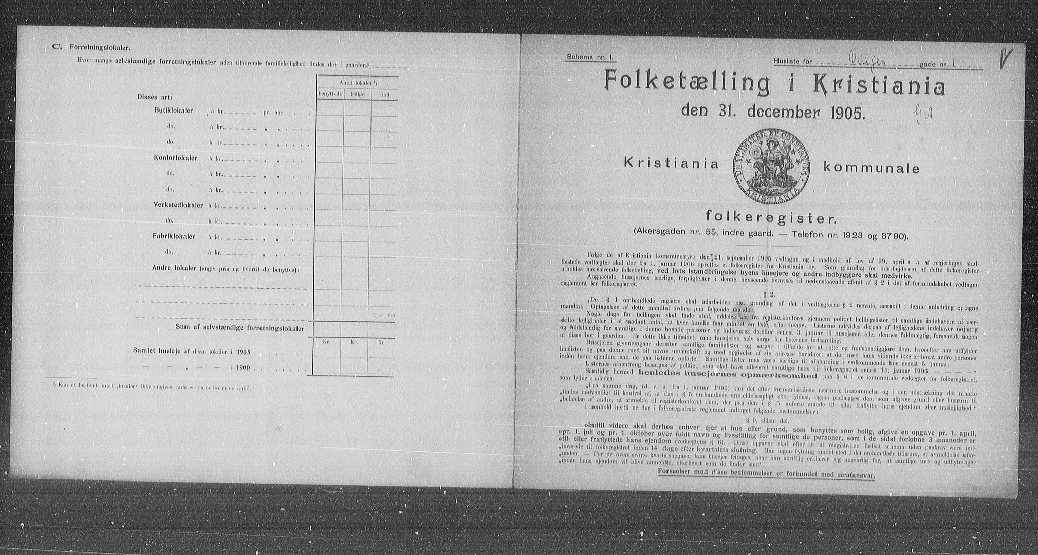 OBA, Municipal Census 1905 for Kristiania, 1905, p. 65236