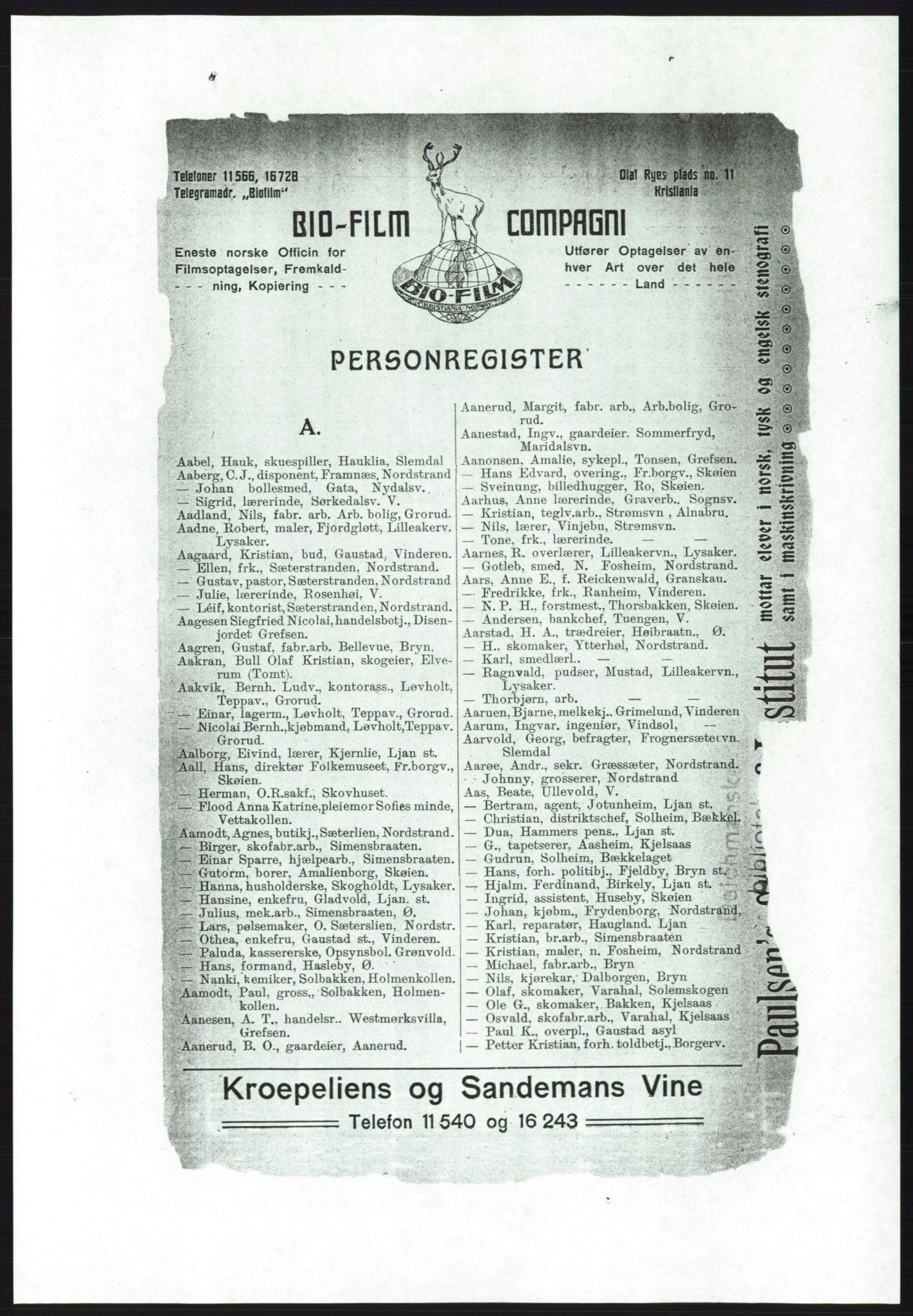 RA, Aker adressebok/adressekalender (publikasjon)*, 1916-1917, p. 9