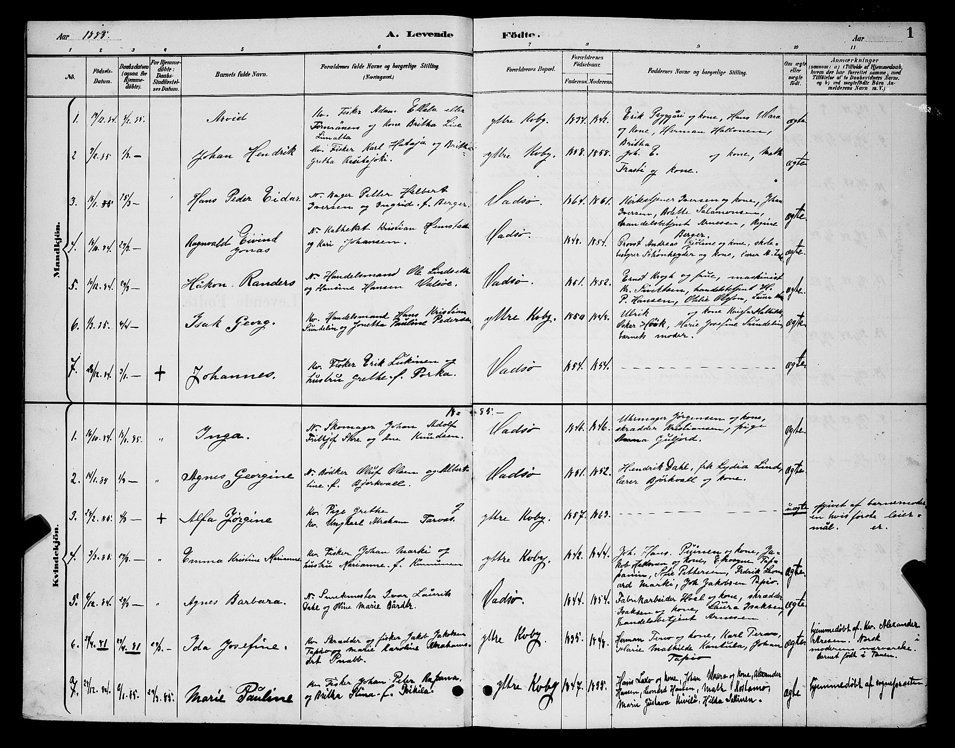 SATØ, Vadsø sokneprestkontor, H/Hb/L0004klokker: Parish register (copy) no. 4, 1885-1895, p. 1