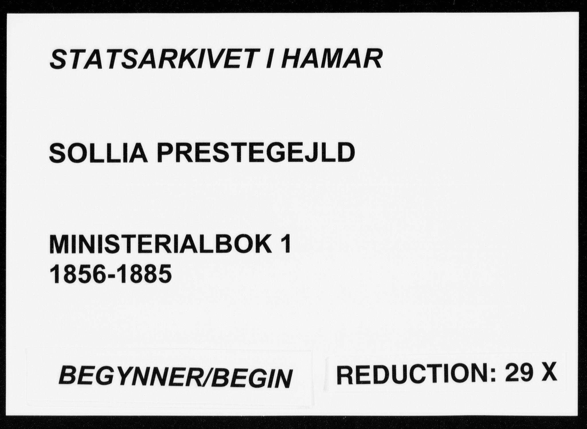 SAH, Sollia prestekontor, Parish register (official) no. 1, 1856-1885