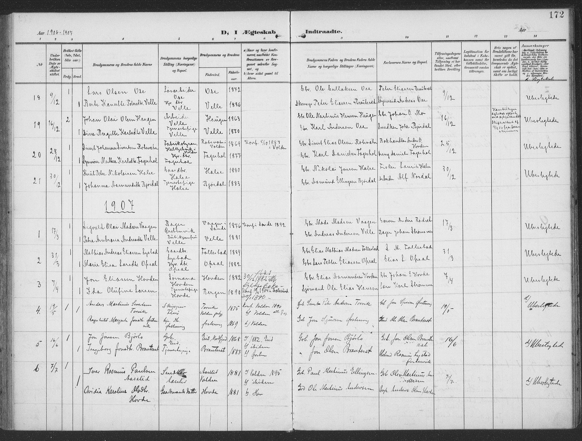 SAT, Ministerialprotokoller, klokkerbøker og fødselsregistre - Møre og Romsdal, 513/L0178: Parish register (official) no. 513A05, 1906-1919, p. 172