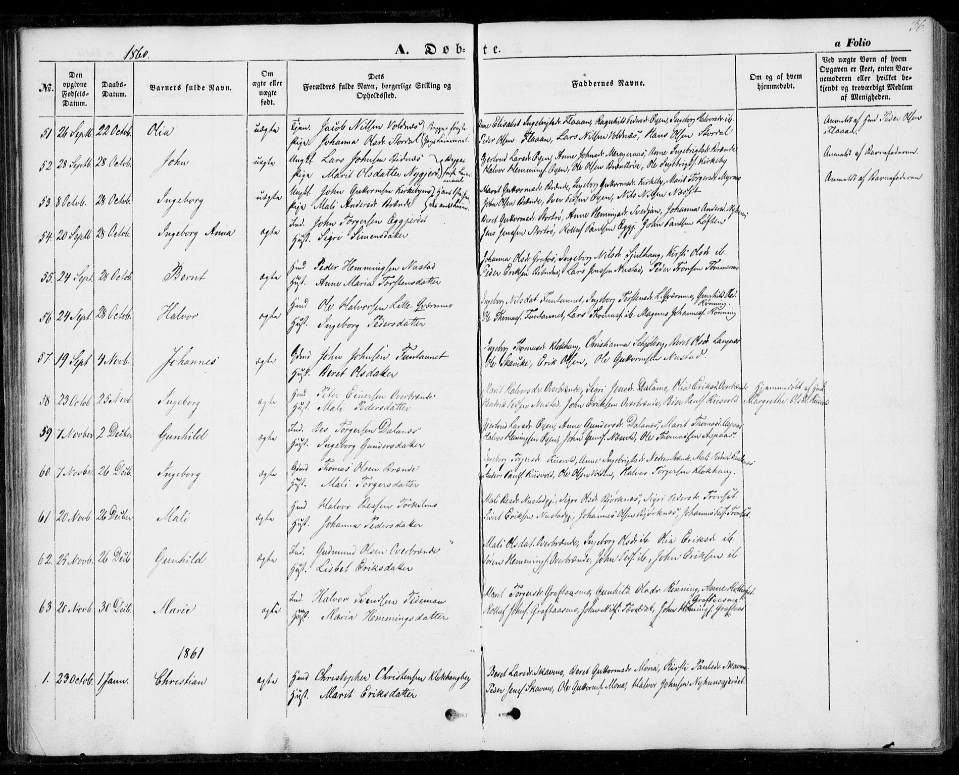 SAT, Ministerialprotokoller, klokkerbøker og fødselsregistre - Nord-Trøndelag, 706/L0040: Parish register (official) no. 706A01, 1850-1861, p. 36
