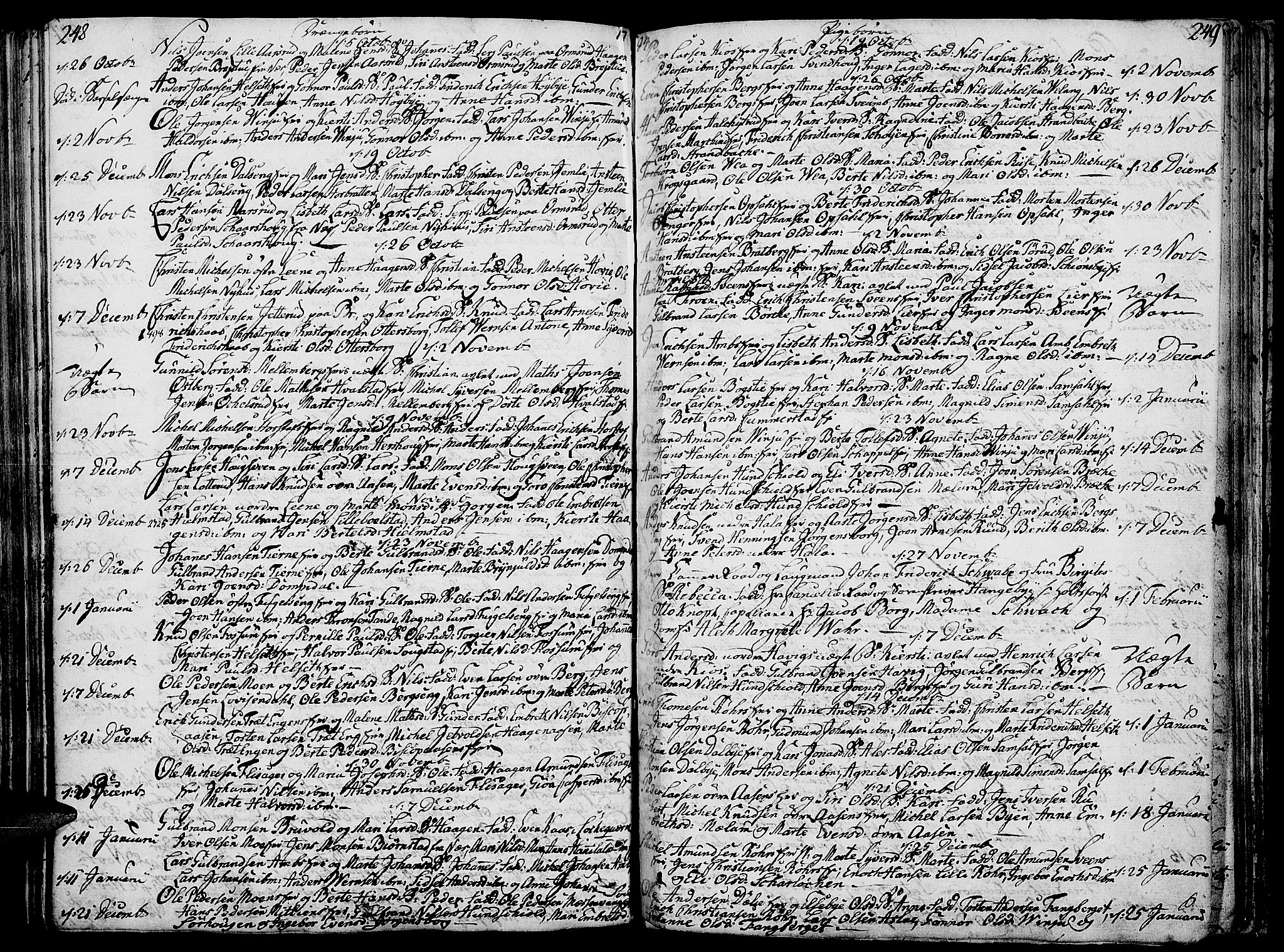 SAH, Ringsaker prestekontor, K/Ka/L0003: Parish register (official) no. 3, 1775-1798, p. 248-249