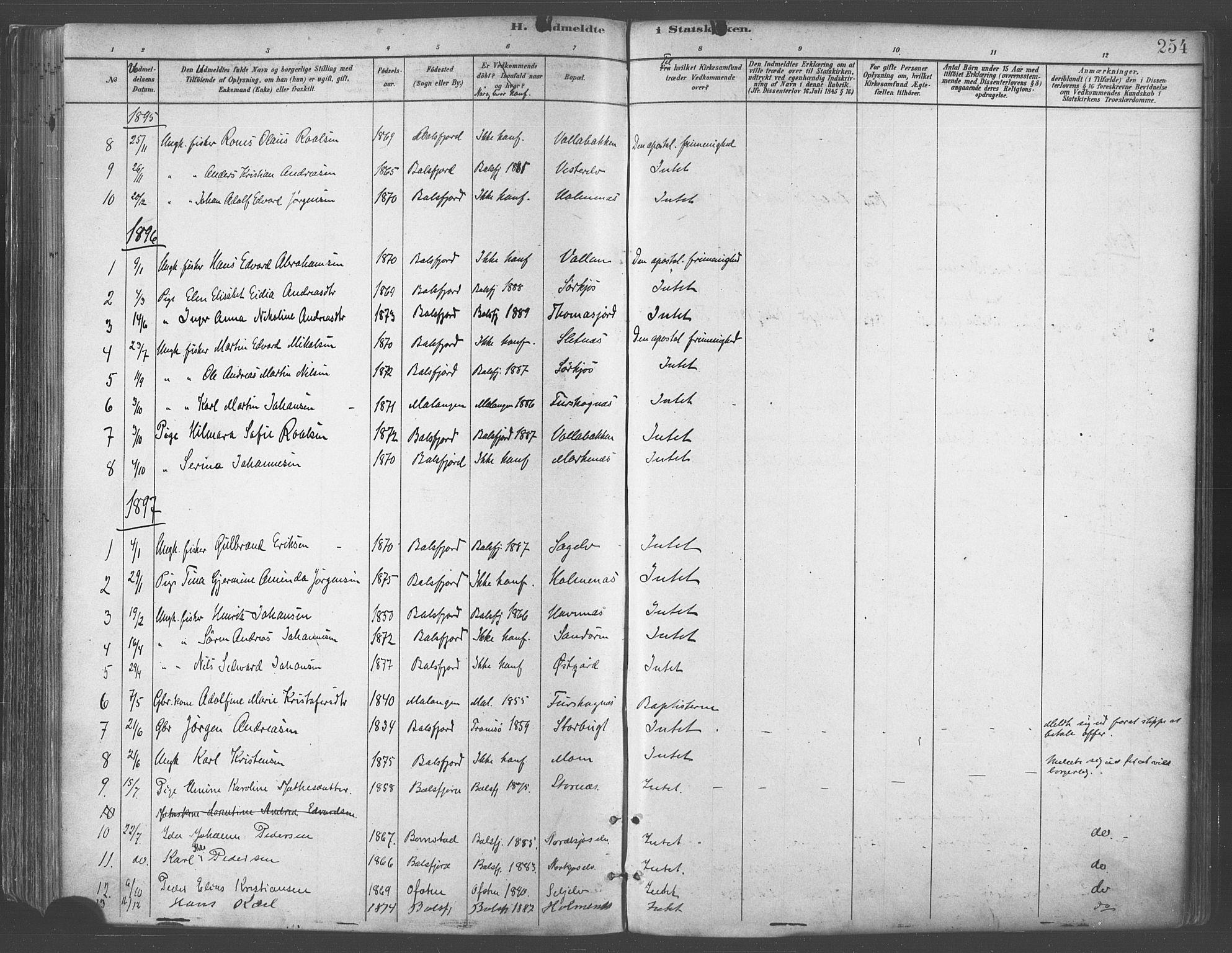 SATØ, Balsfjord sokneprestembete, Parish register (official) no. 5, 1884-1897, p. 254