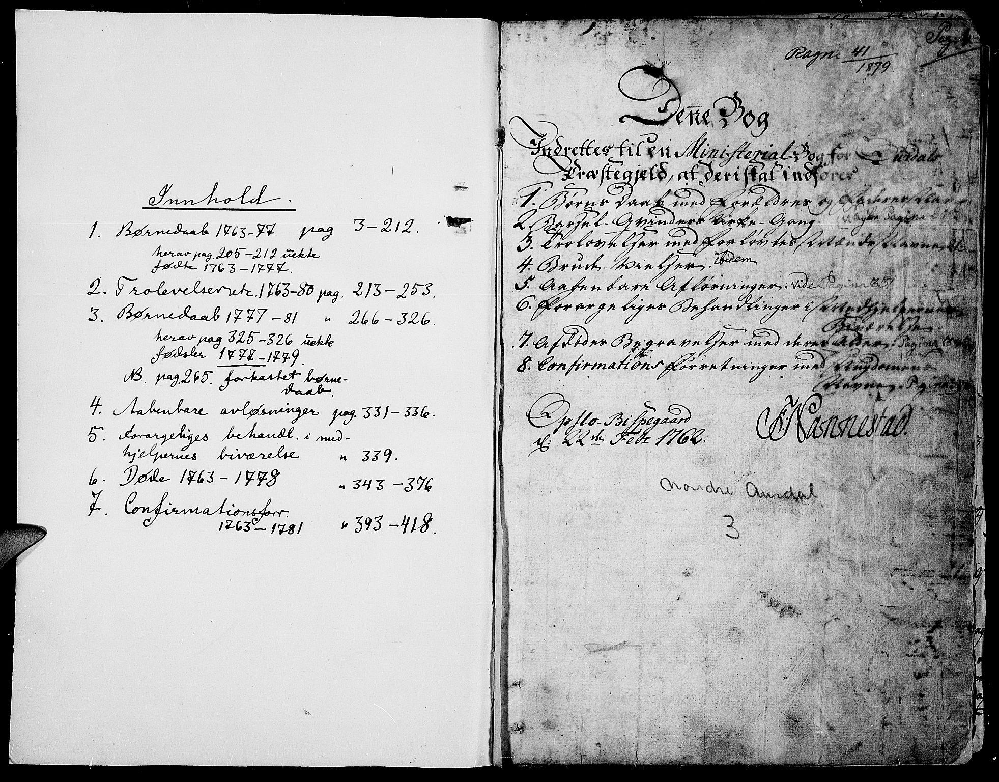 SAH, Aurdal prestekontor, Parish register (official) no. 5, 1763-1781, p. 0-1