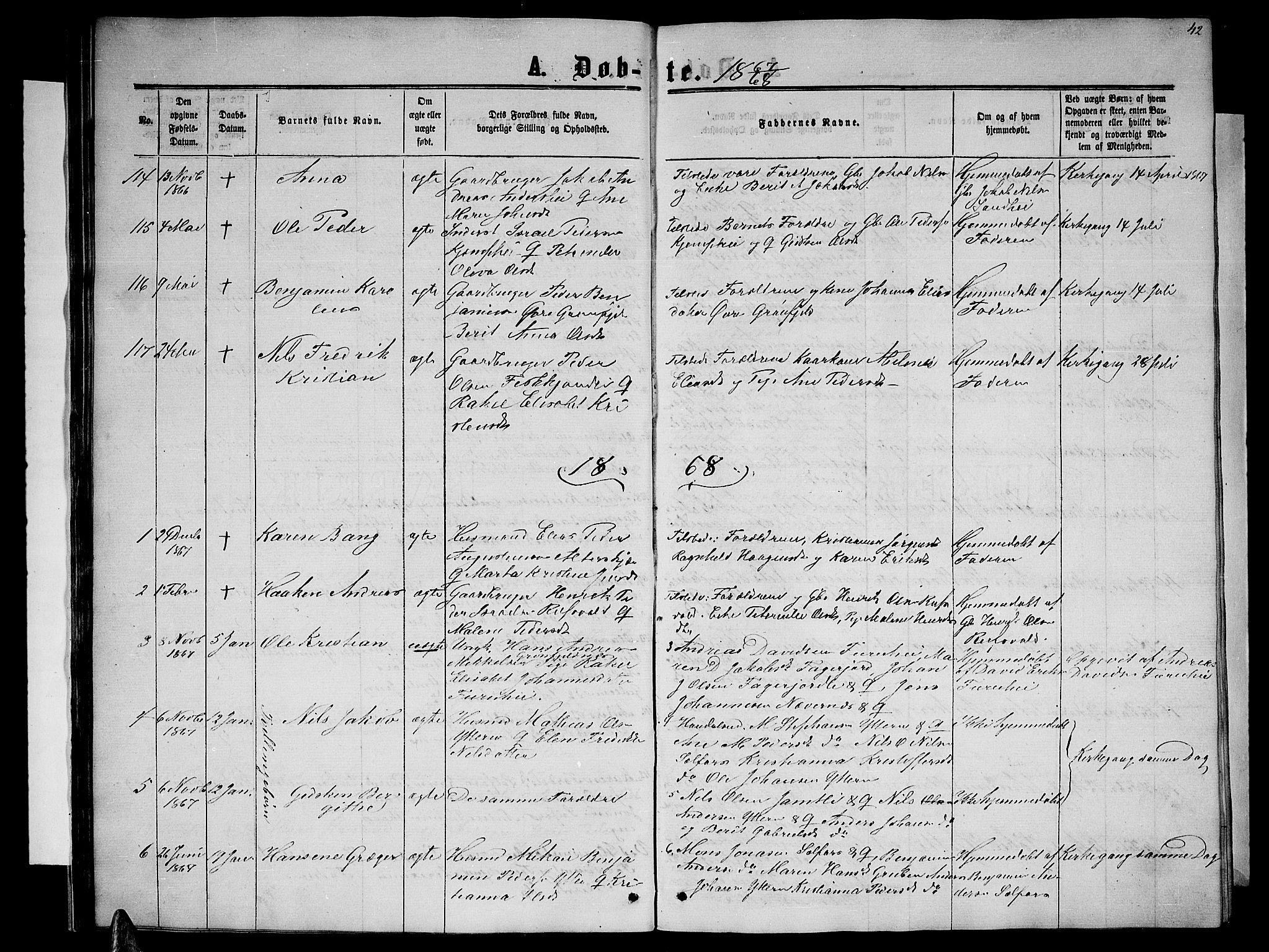SAT, Ministerialprotokoller, klokkerbøker og fødselsregistre - Nordland, 827/L0415: Parish register (copy) no. 827C04, 1864-1886, p. 42