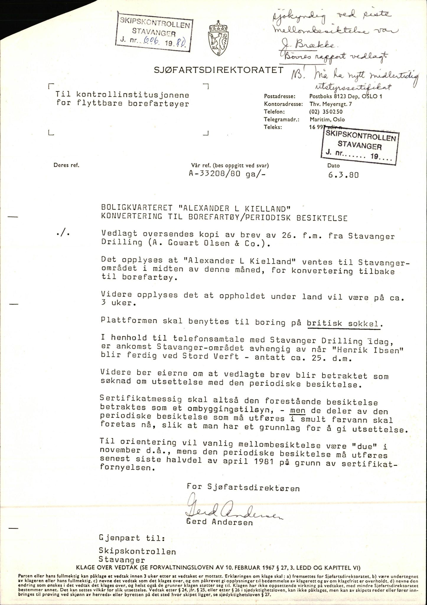 SAST, Sjøfartsdirektoratet, stasjon Stavanger, O/L0002: Alexander Kielland, 1975-1983