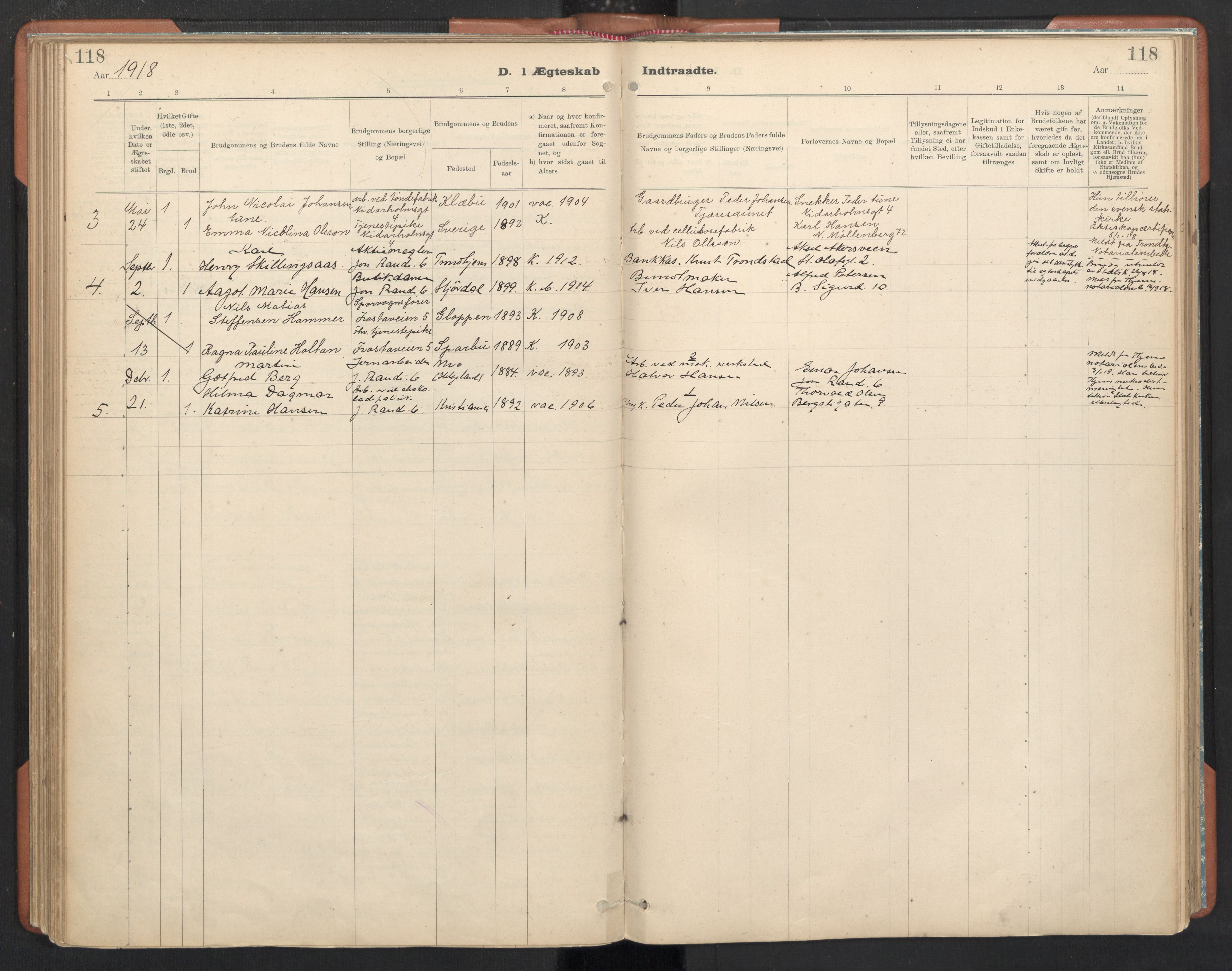 SAT, Ministerialprotokoller, klokkerbøker og fødselsregistre - Sør-Trøndelag, 605/L0244: Parish register (official) no. 605A06, 1908-1954, p. 118