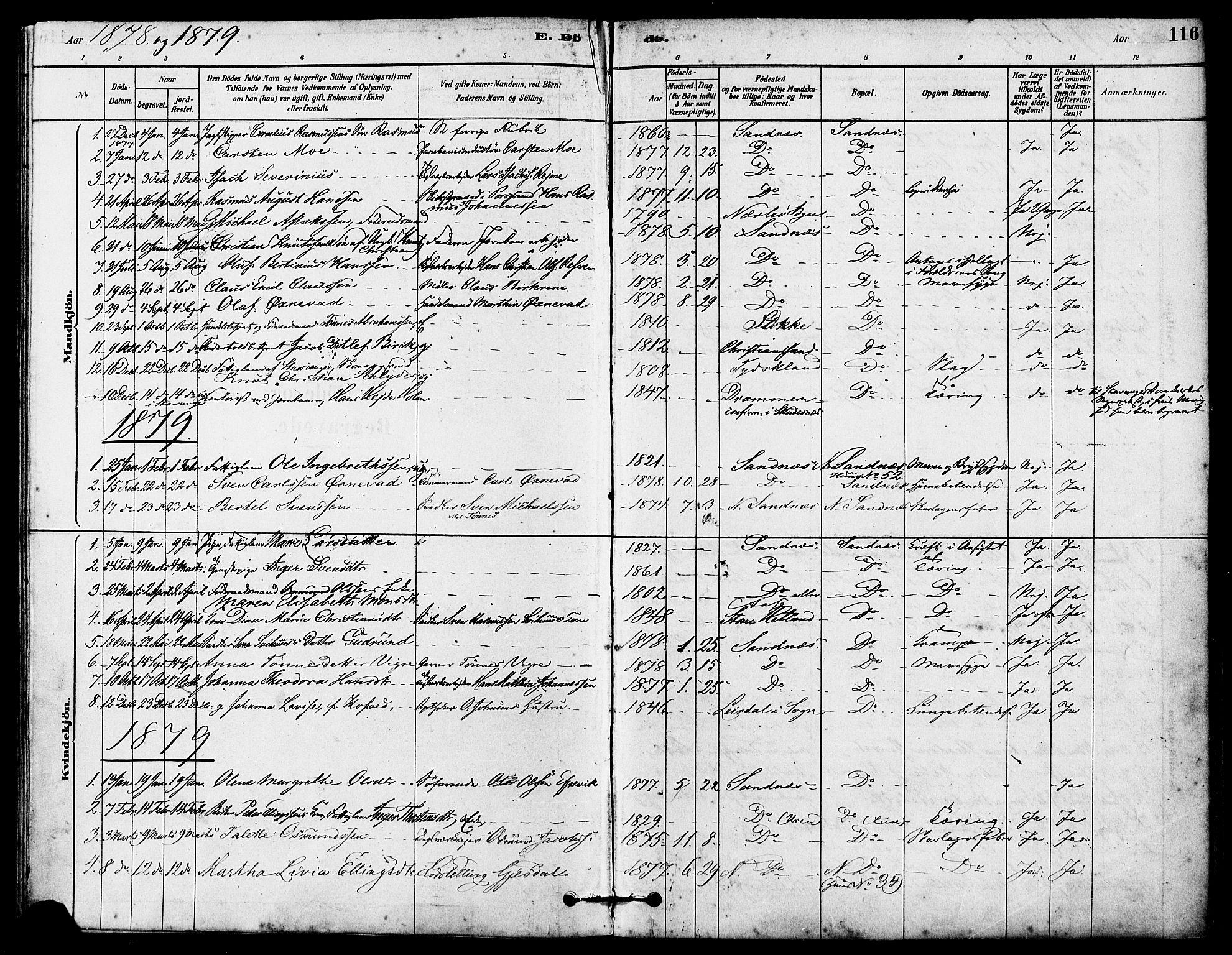 SAST, Høyland sokneprestkontor, 30BA/L0012: Parish register (official) no. A 11, 1878-1889, p. 116