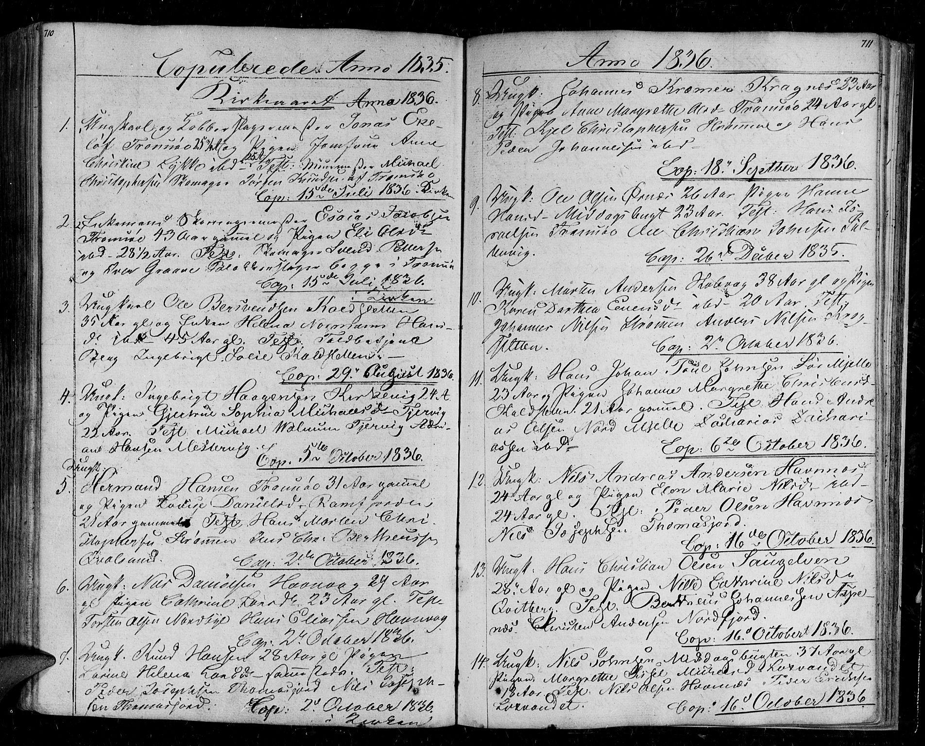 SATØ, Tromsø sokneprestkontor/stiftsprosti/domprosti, G/Ga/L0008kirke: Parish register (official) no. 8, 1829-1837, p. 710-711