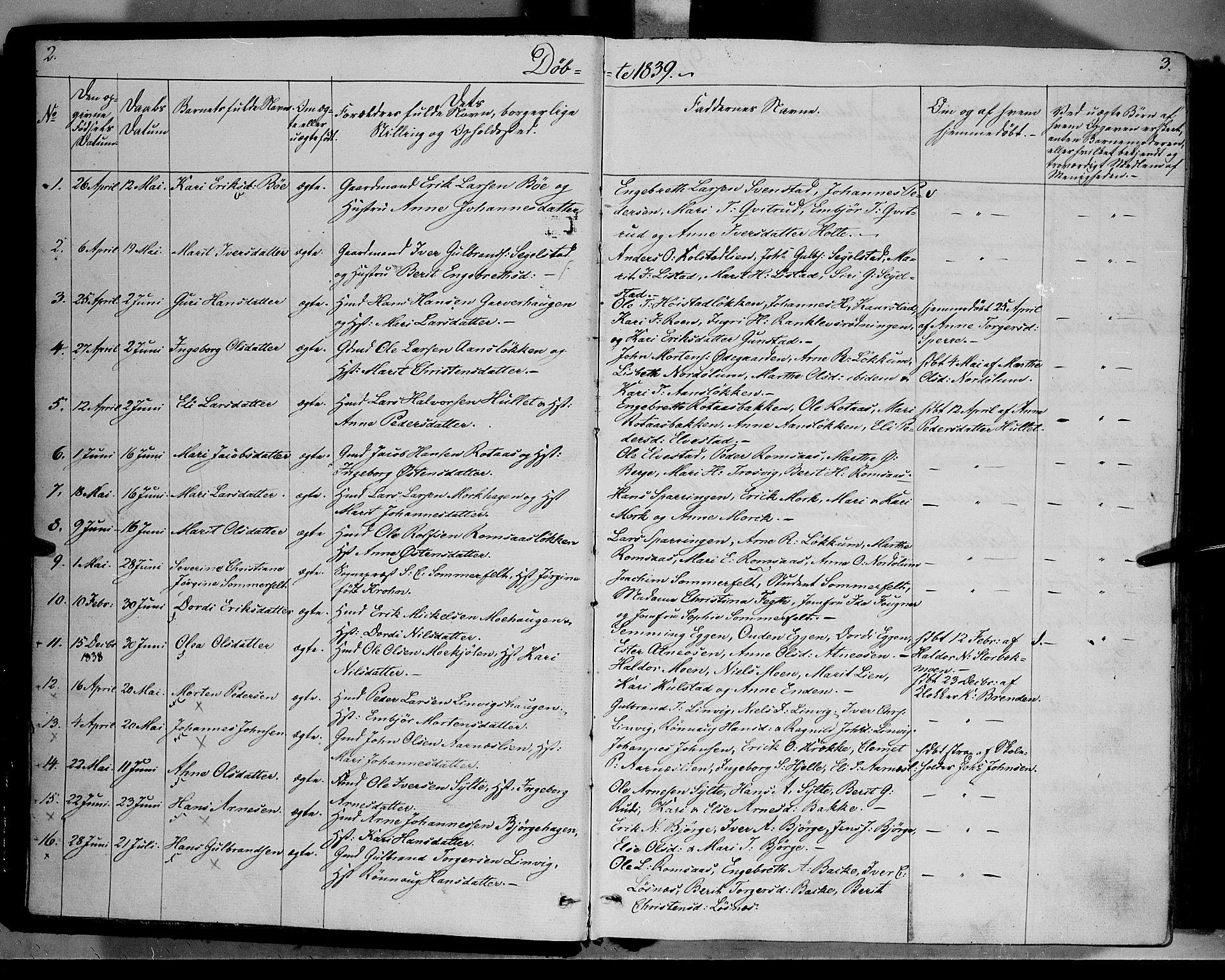 SAH, Ringebu prestekontor, Parish register (official) no. 5, 1839-1848, p. 2-3