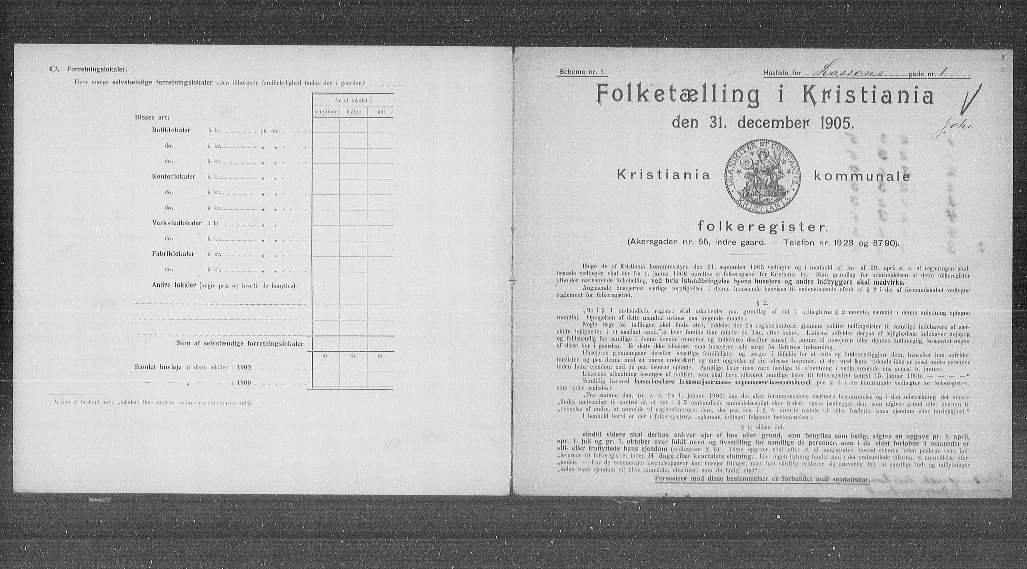OBA, Municipal Census 1905 for Kristiania, 1905, p. 30021