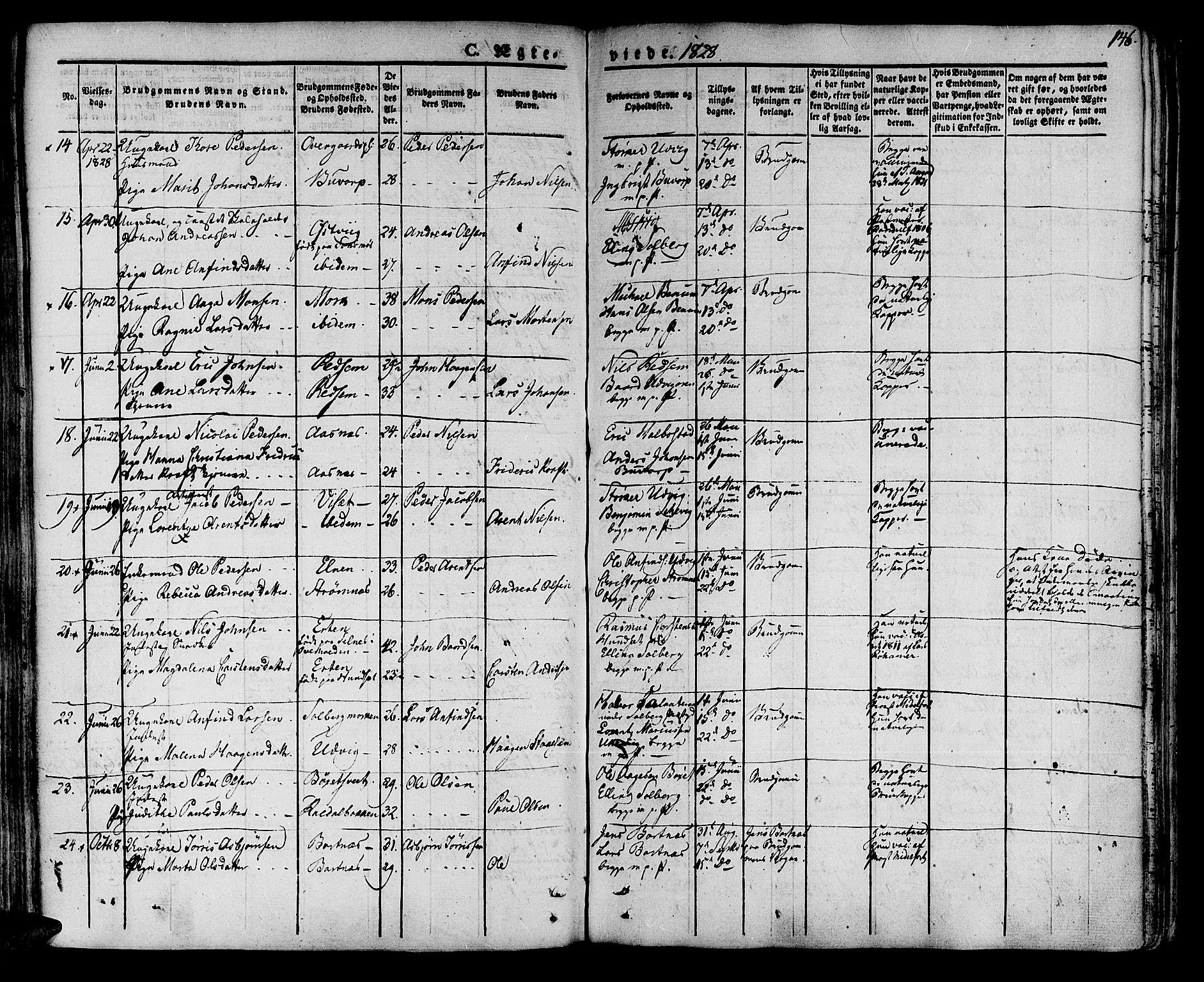 SAT, Ministerialprotokoller, klokkerbøker og fødselsregistre - Nord-Trøndelag, 741/L0390: Parish register (official) no. 741A04, 1822-1836, p. 146