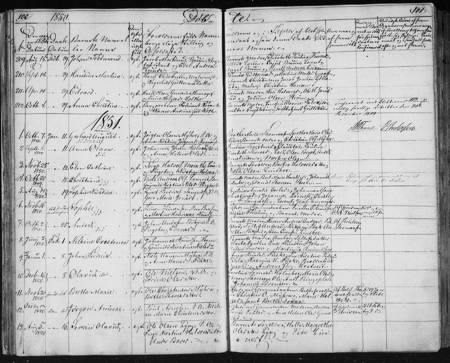 SAKO, Kongsberg kirkebøker, F/Fa/L0009: Parish register (official) no. I 9, 1839-1858, p. 100-101