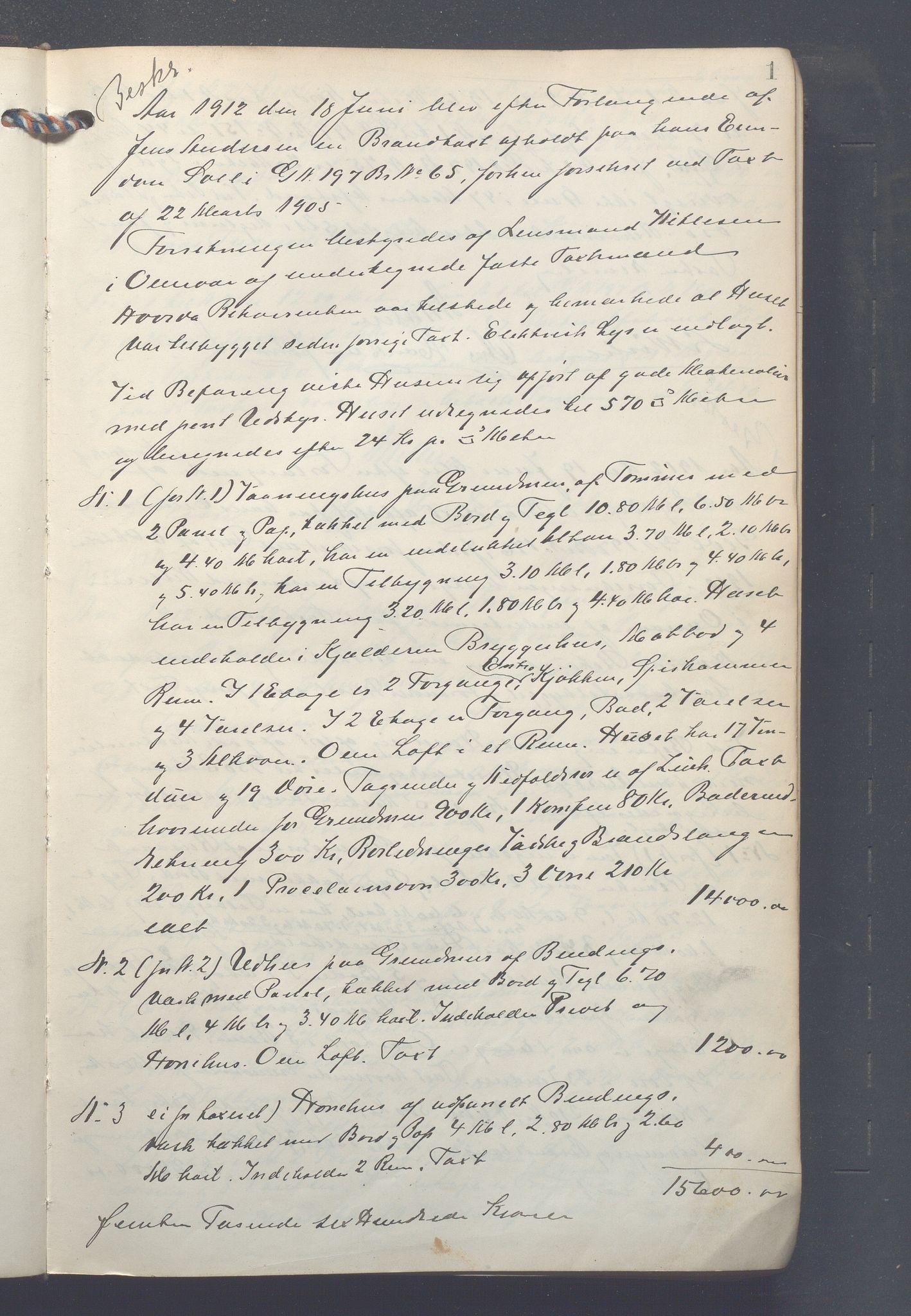 OBA, Lensmennene i Aker, F/Fc/L0013: Branntakstprotokoll, 1912-1916, p. 1a
