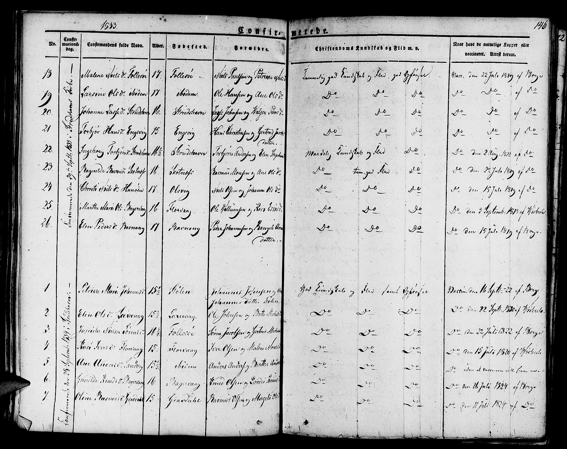 SAB, Askøy Sokneprestembete, H/Ha/Haa/Haaa/L0004: Parish register (official) no. A 4, 1825-1845, p. 146