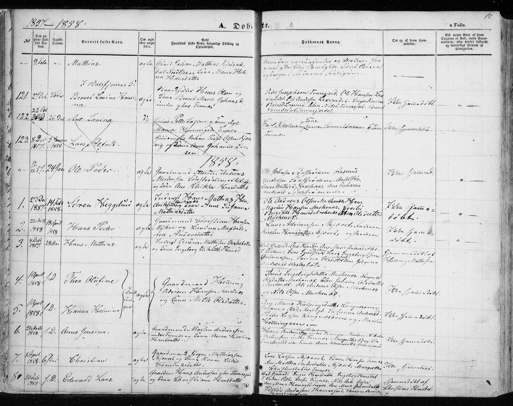 SATØ, Balsfjord sokneprestembete, Parish register (official) no. 3, 1856-1870, p. 17
