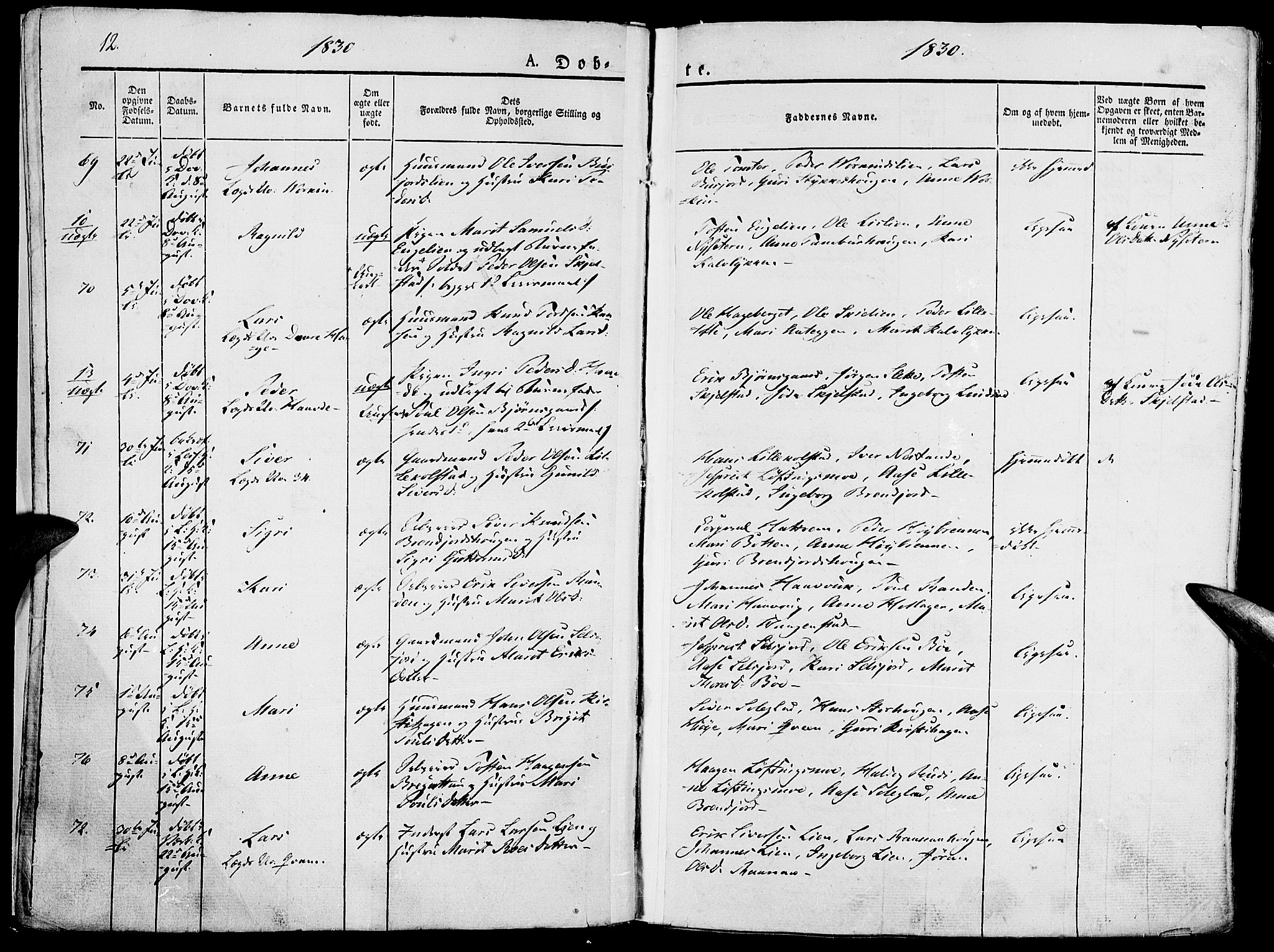 SAH, Lesja prestekontor, Parish register (official) no. 5, 1830-1842, p. 12