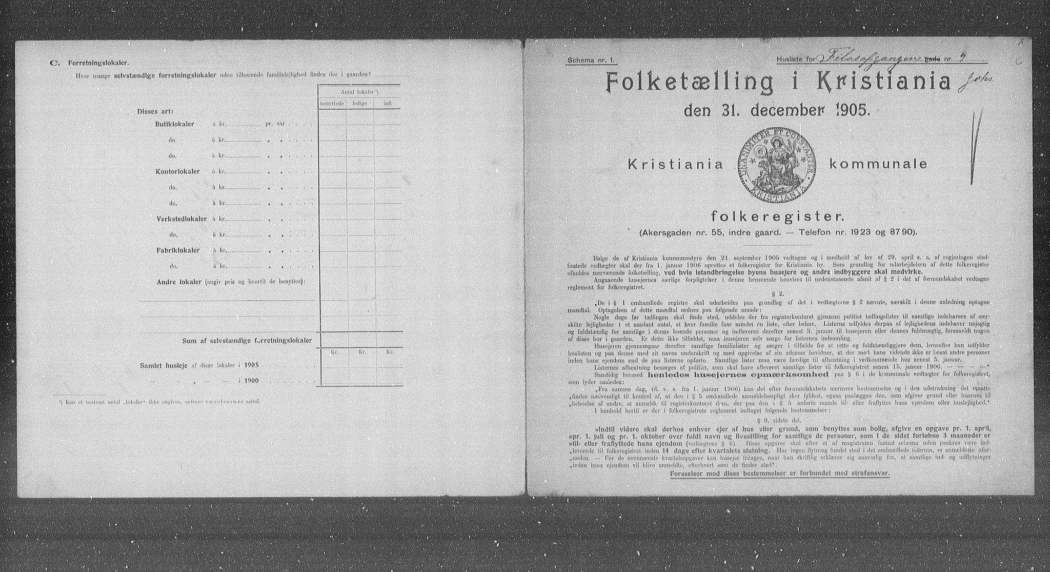 OBA, Municipal Census 1905 for Kristiania, 1905, p. 12516