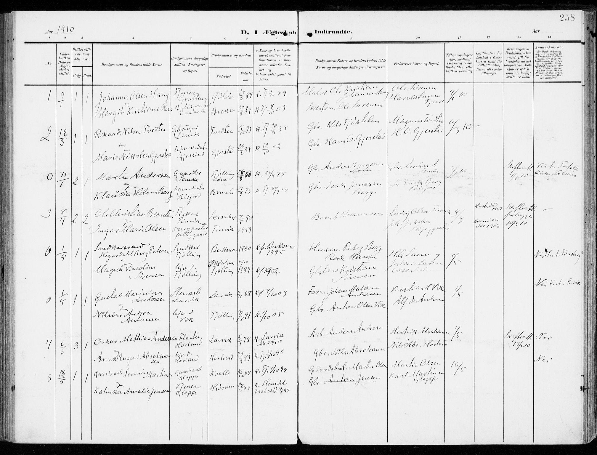 SAKO, Tjølling kirkebøker, F/Fa/L0010: Parish register (official) no. 10, 1906-1923, p. 258
