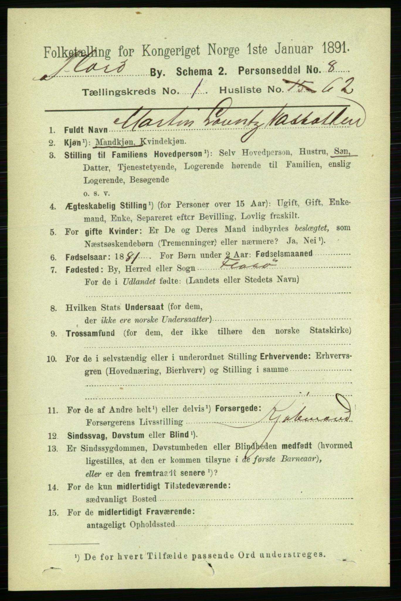 RA, 1891 census for 1401 Florø, 1891, p. 830