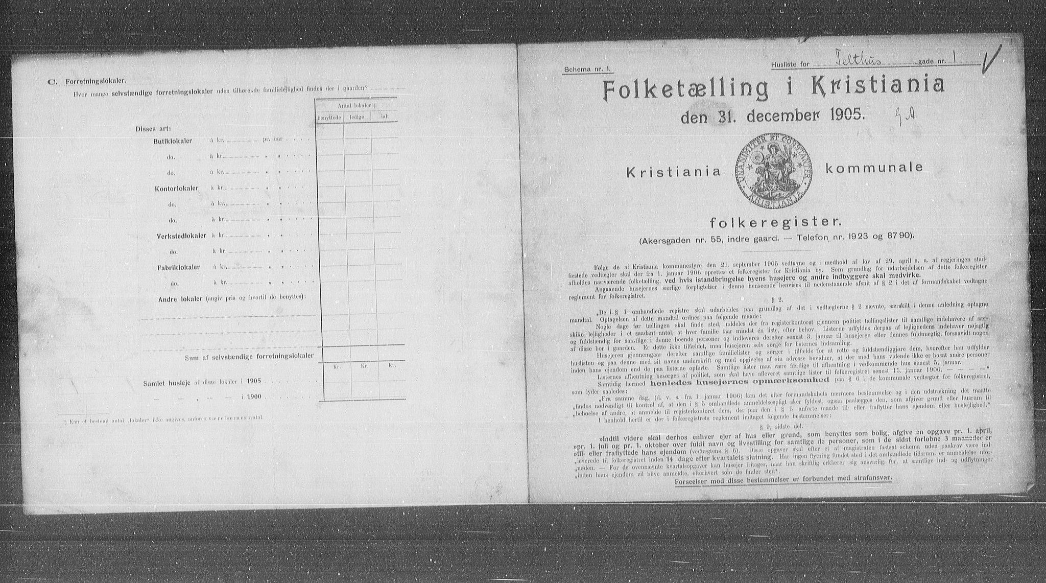 OBA, Municipal Census 1905 for Kristiania, 1905, p. 56156