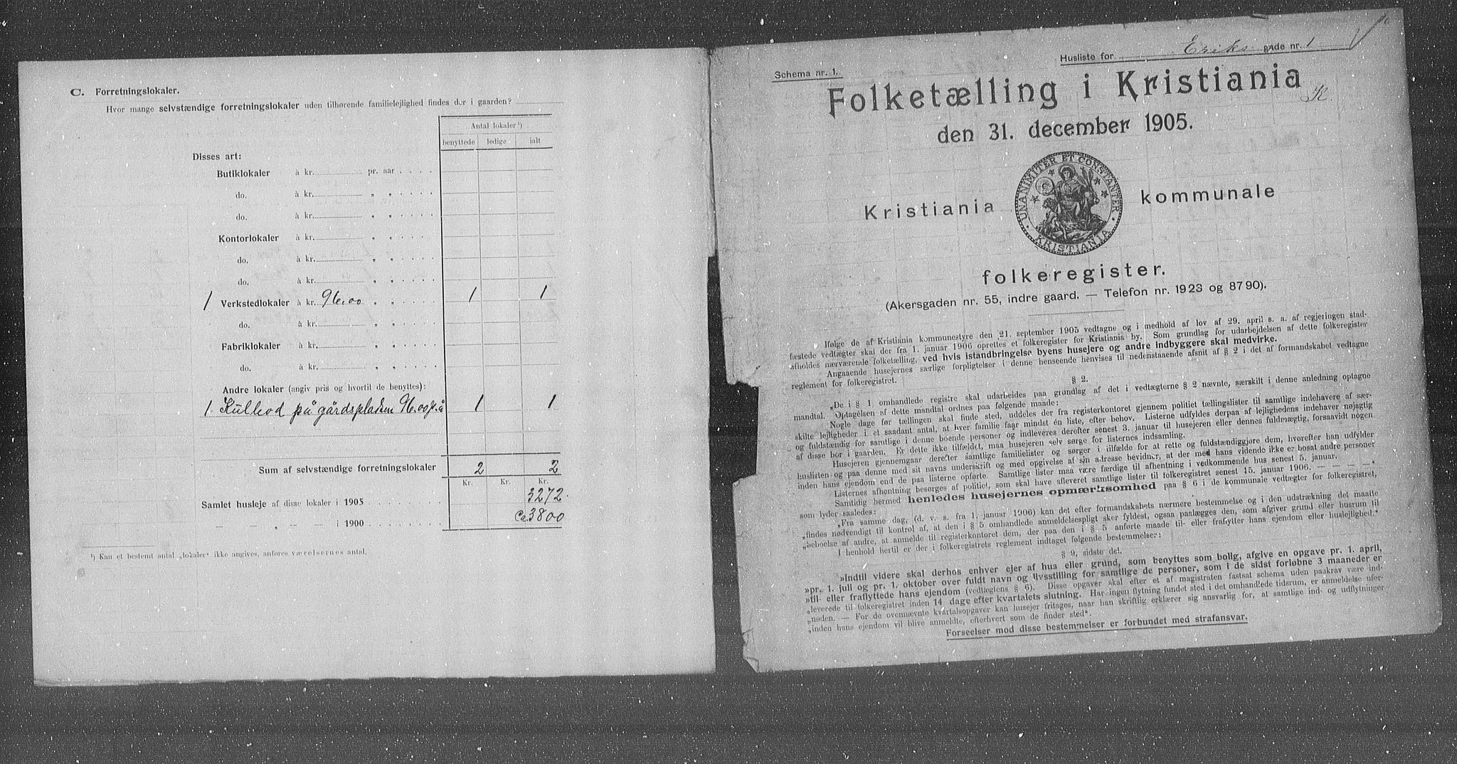 OBA, Municipal Census 1905 for Kristiania, 1905, p. 11122